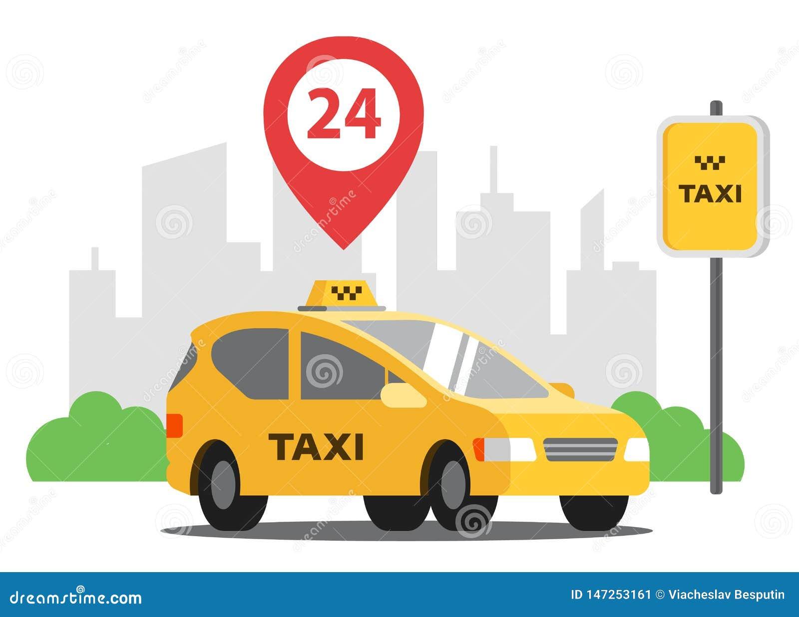 Il taxi è parcheggiato