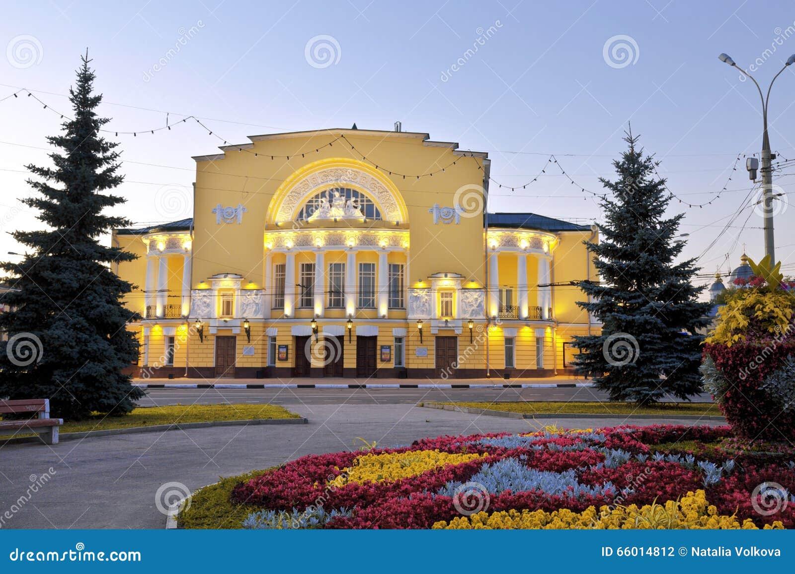Download Il Teatro Di Un Nome Volkova In Yaroslavl A Tarda Sera Fotografia Stock