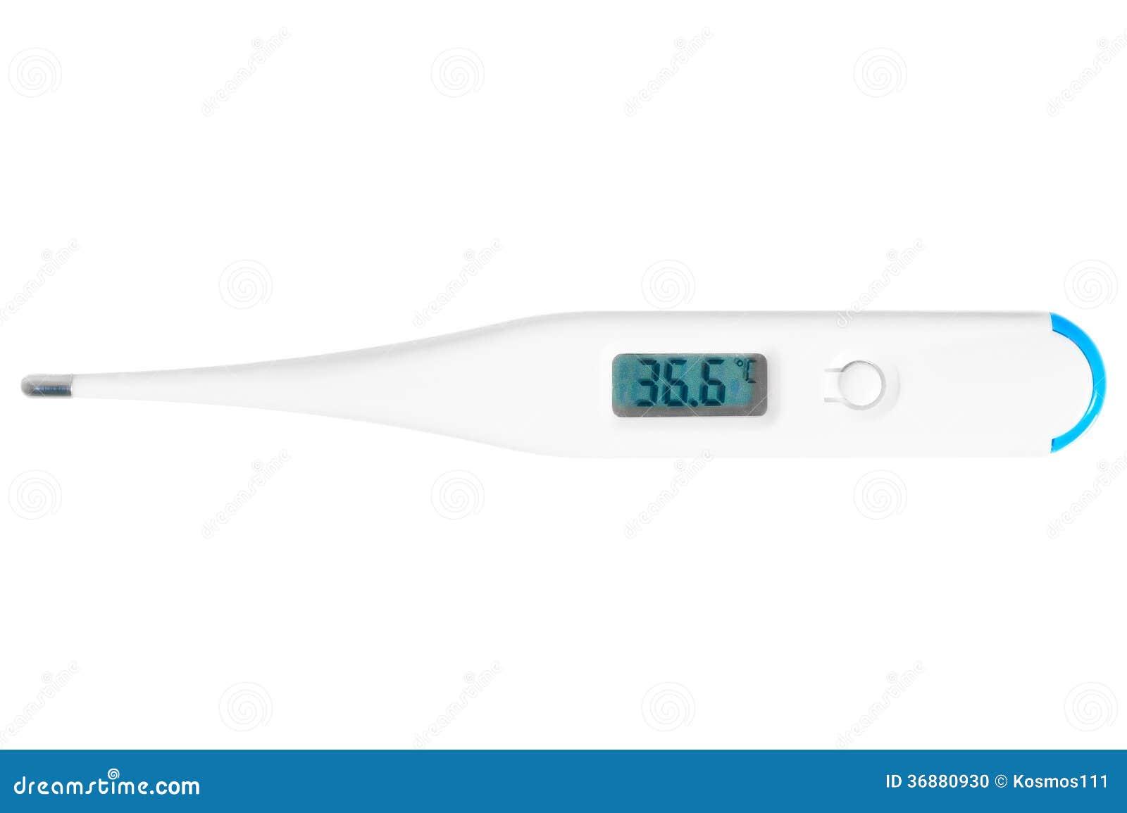 Download Il Termometro Elettronico Mostra Una Temperatura Corporea Normale Fotografia Stock - Immagine di medico, medicina: 36880930