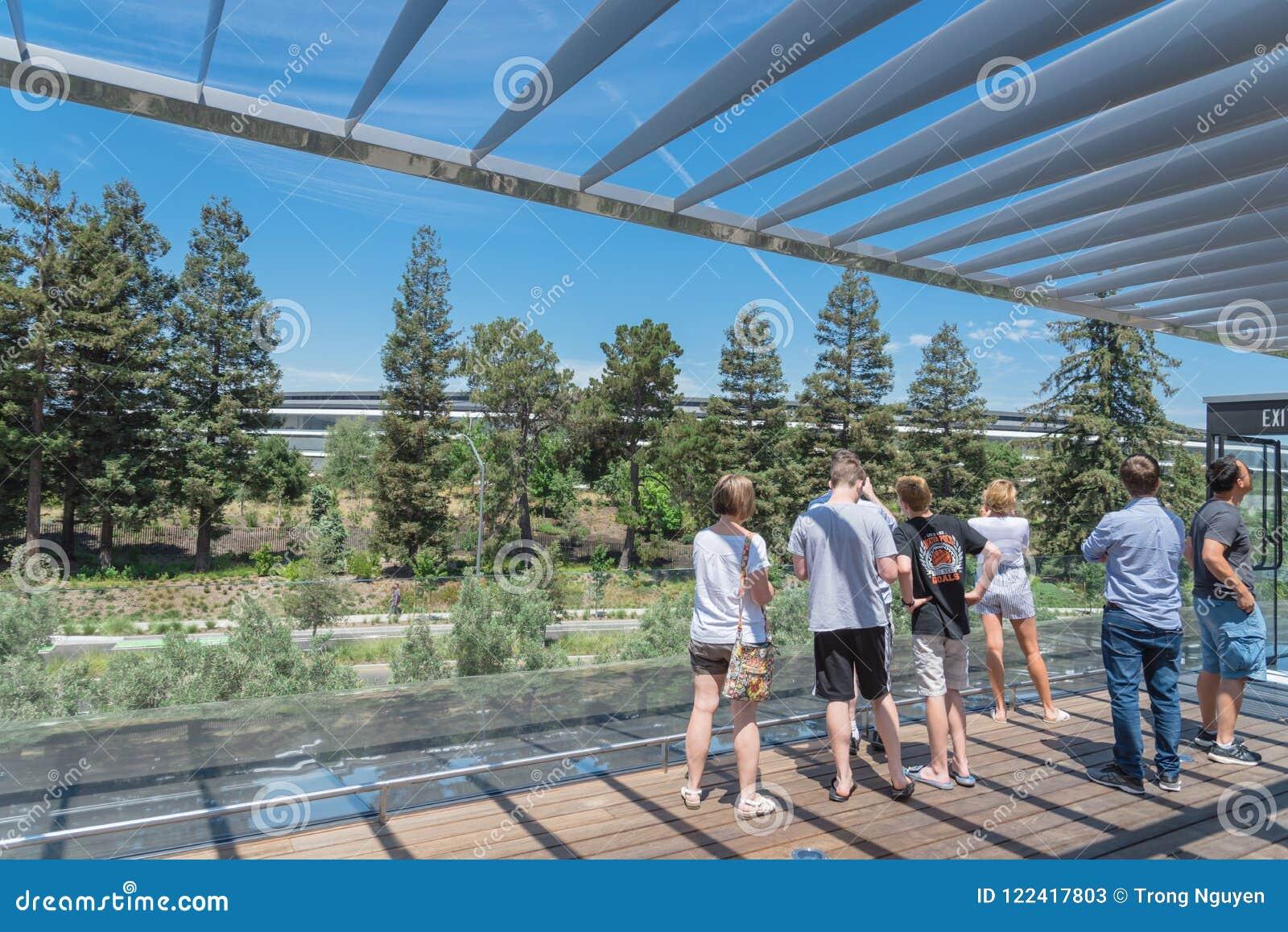 Il terrazzo del tetto caratterizza una vista unica del parco di Apple e del suo ro