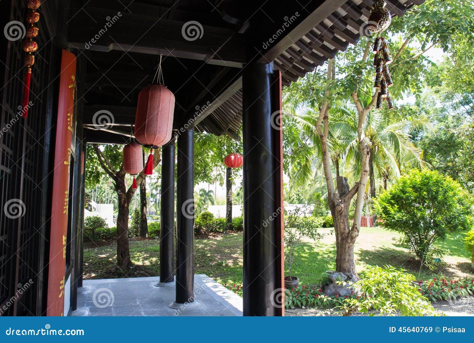 Il terrazzo della casa antica cinese di stile fotografia for Planimetrie della casa antica