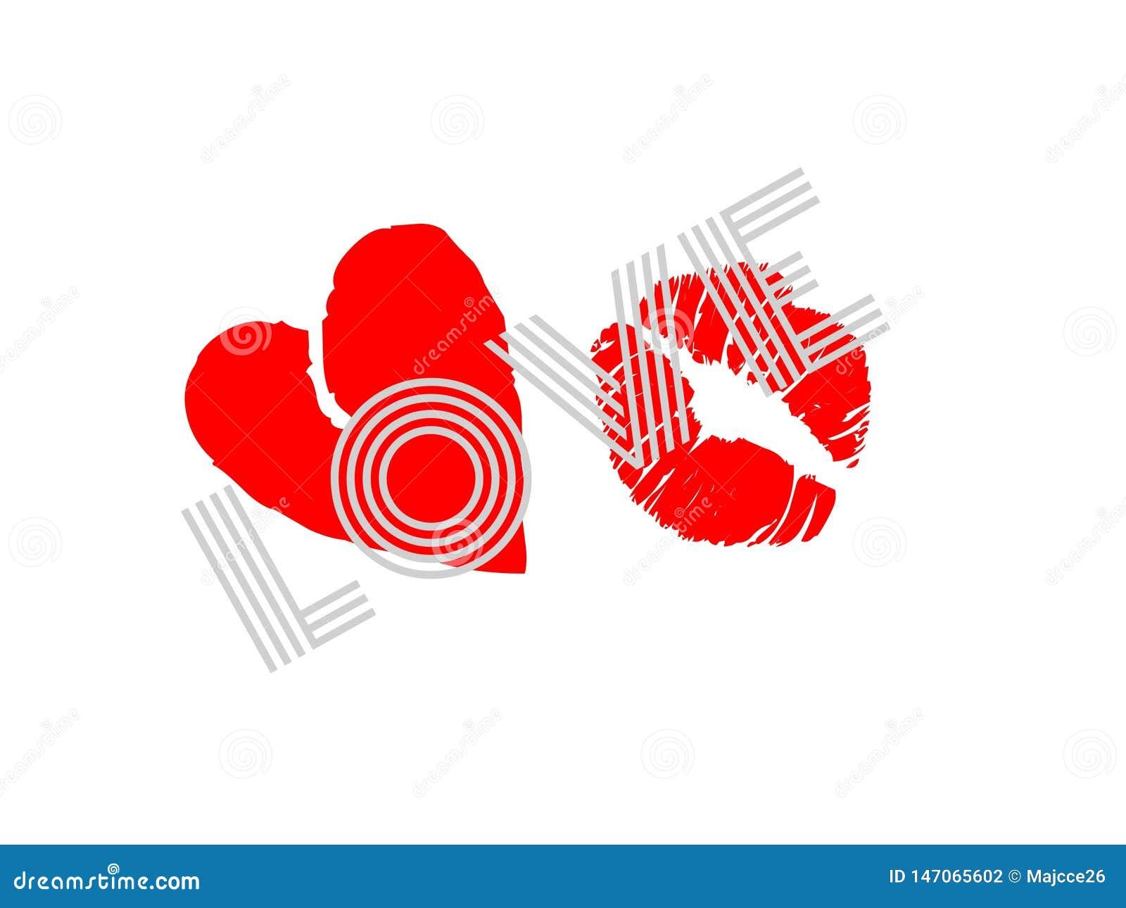 Il testo arancio delle stelle rosse di amore kissred il cuore isolato su fondo bianco romanzesco