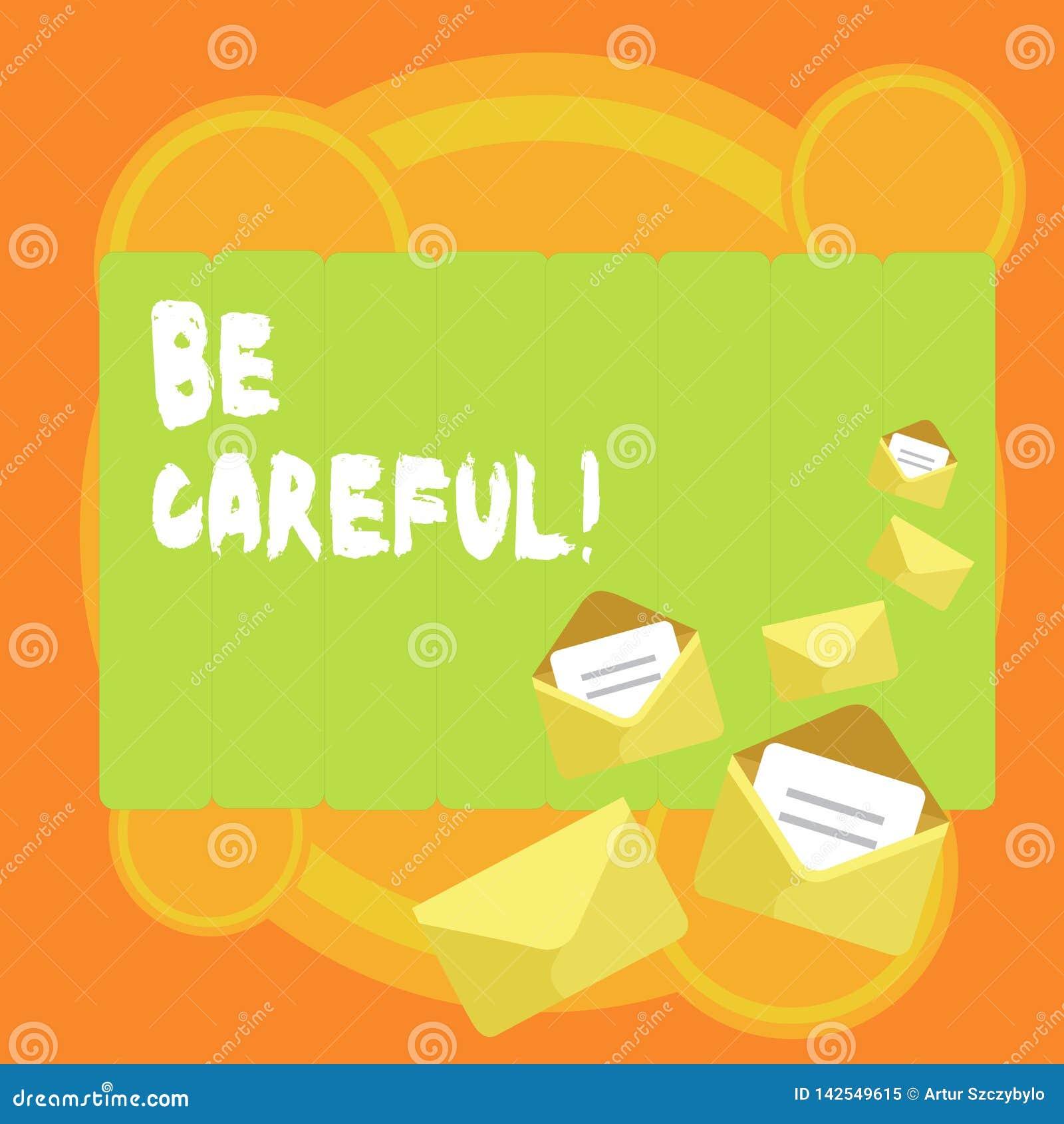 Il testo di scrittura di parola sta attento Concetto di affari per assicurarsi della prevenzione contrattempo o del danno potenzi