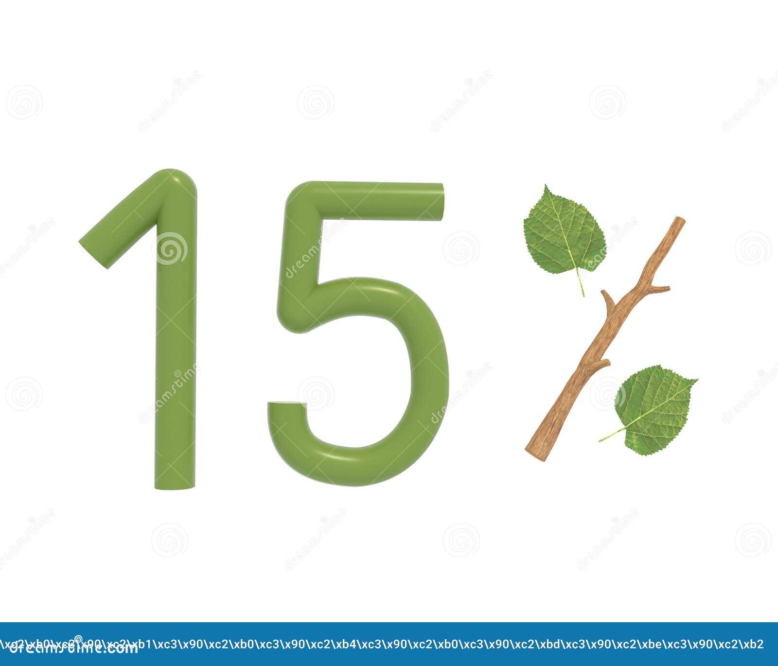 Il testo di verde dell illustrazione 3d ha progettato con le foglie e un bastone