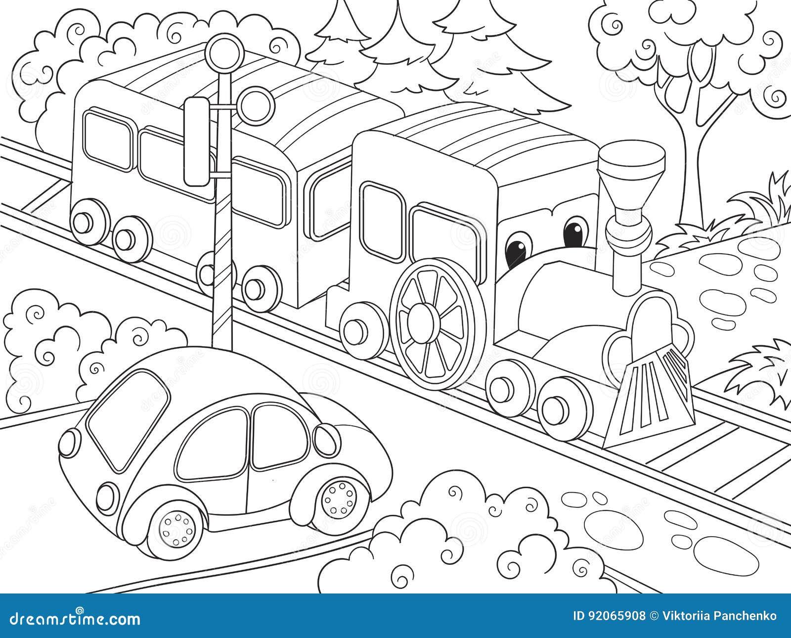 Il Treno Del Treno Del Fumetto Ed Il Libro Da Colorare Dell Automobile Per Il Fumetto Dei Bambini Vector L Illustrazione Illustrazione Vettoriale Illustrazione Di Vernice Claus 92065908