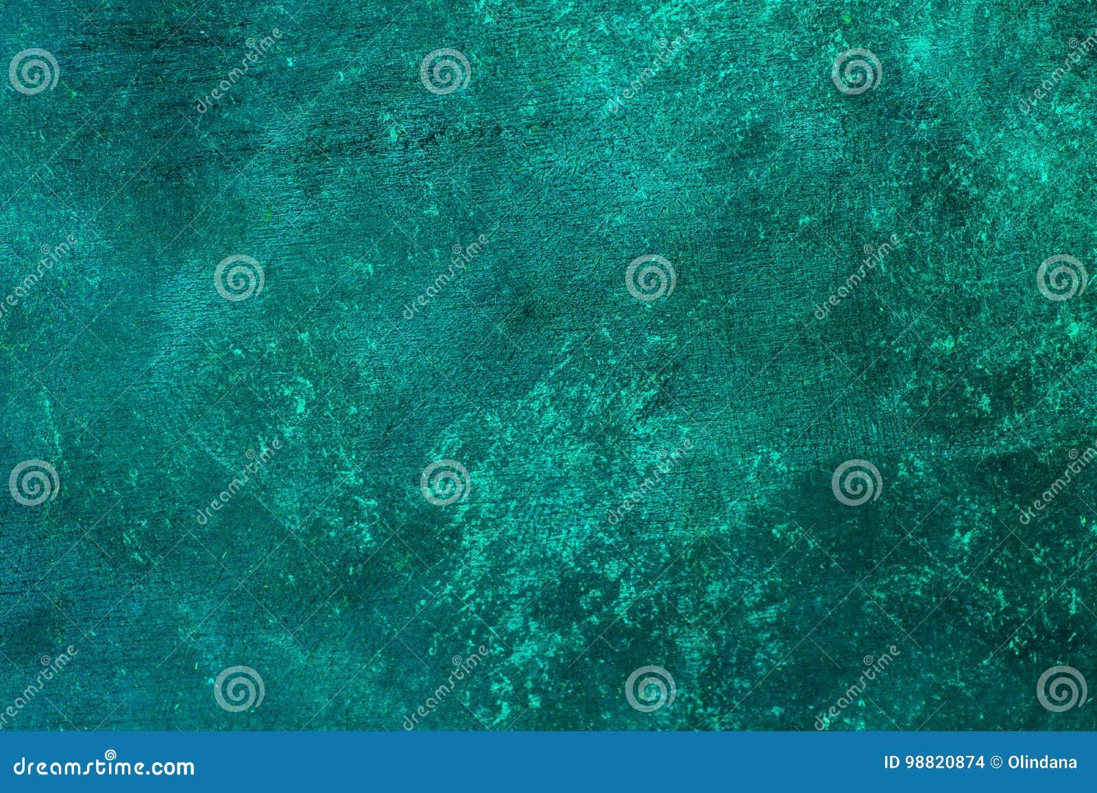Il vecchio turchese blu afflitto ha arrugginito fondo d ottone con struttura approssimativa Macchiato, pendenza, calcestruzzo
