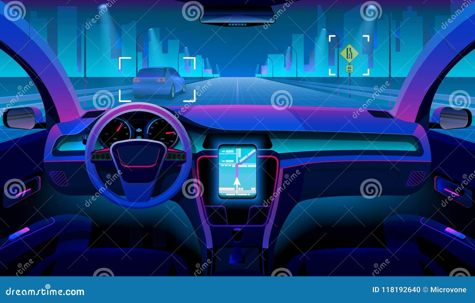 Il veicolo autonomo futuro, l interno driverless dell automobile con gli ostacoli e la notte abbelliscono fuori Assistente futuri