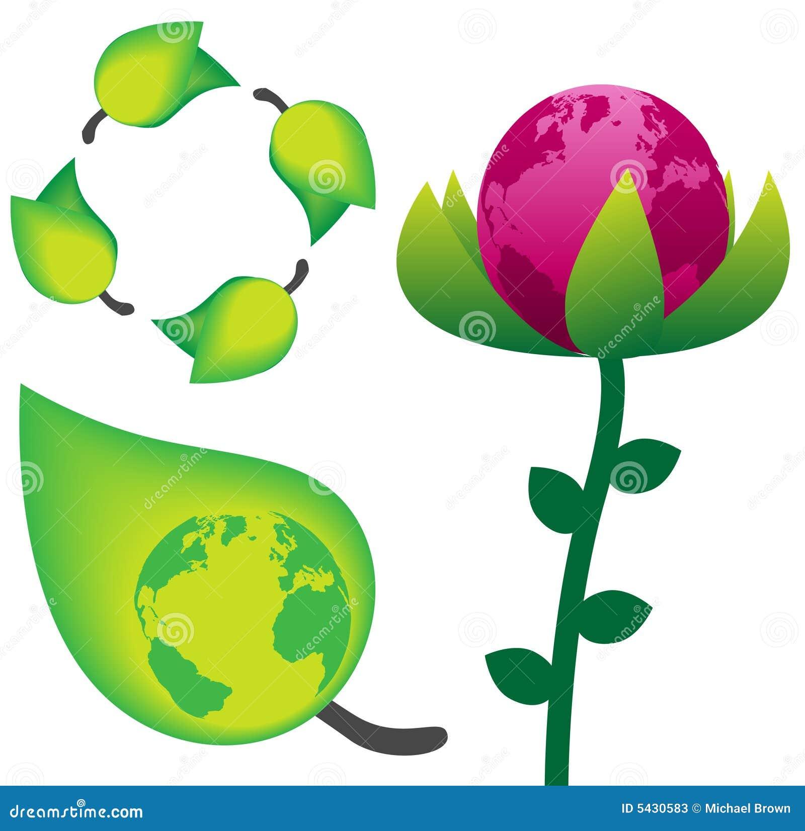 Il Verde Ricicla I Simboli Della Natura Della Terra, Del Fiore ...