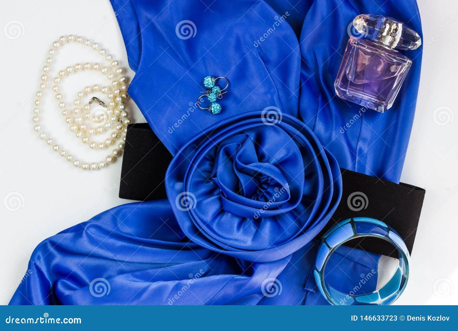 Il vestito e gli accessori delle donne blu intelligenti su un fondo bianco Cinghia del fiore, collana della perla, orecchini, bra