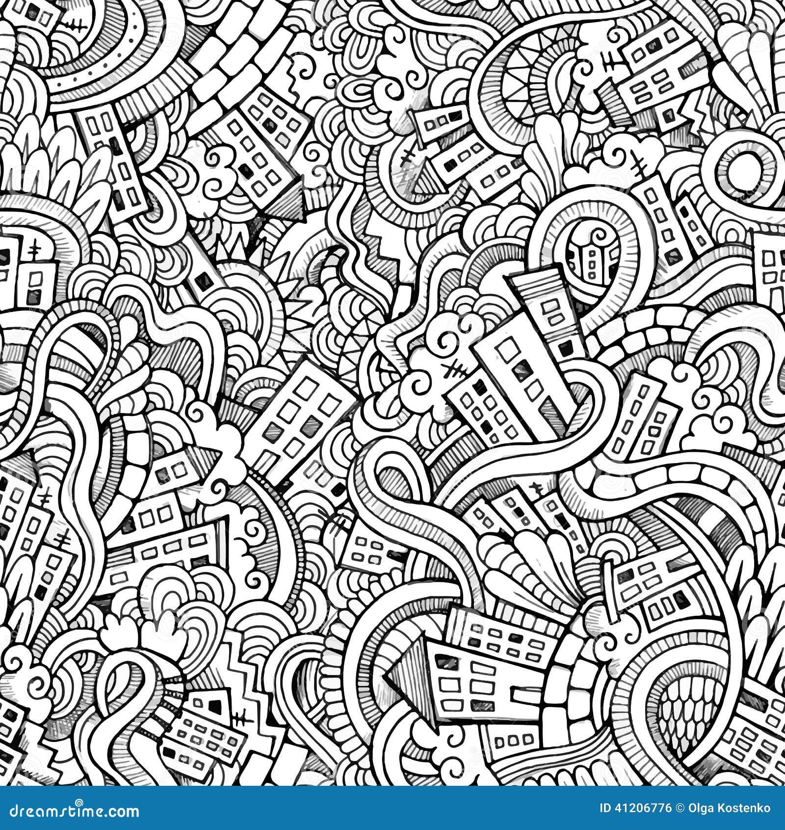 Il vettore del fumetto scarabocchia la citt disegnata a for Architettura disegnata