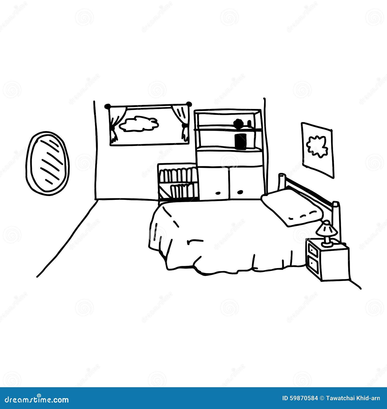 Il vettore dell 39 illustrazione scarabocchia la camera da letto disegnata a mano con gli oggetti - Oggetti per camera da letto ...