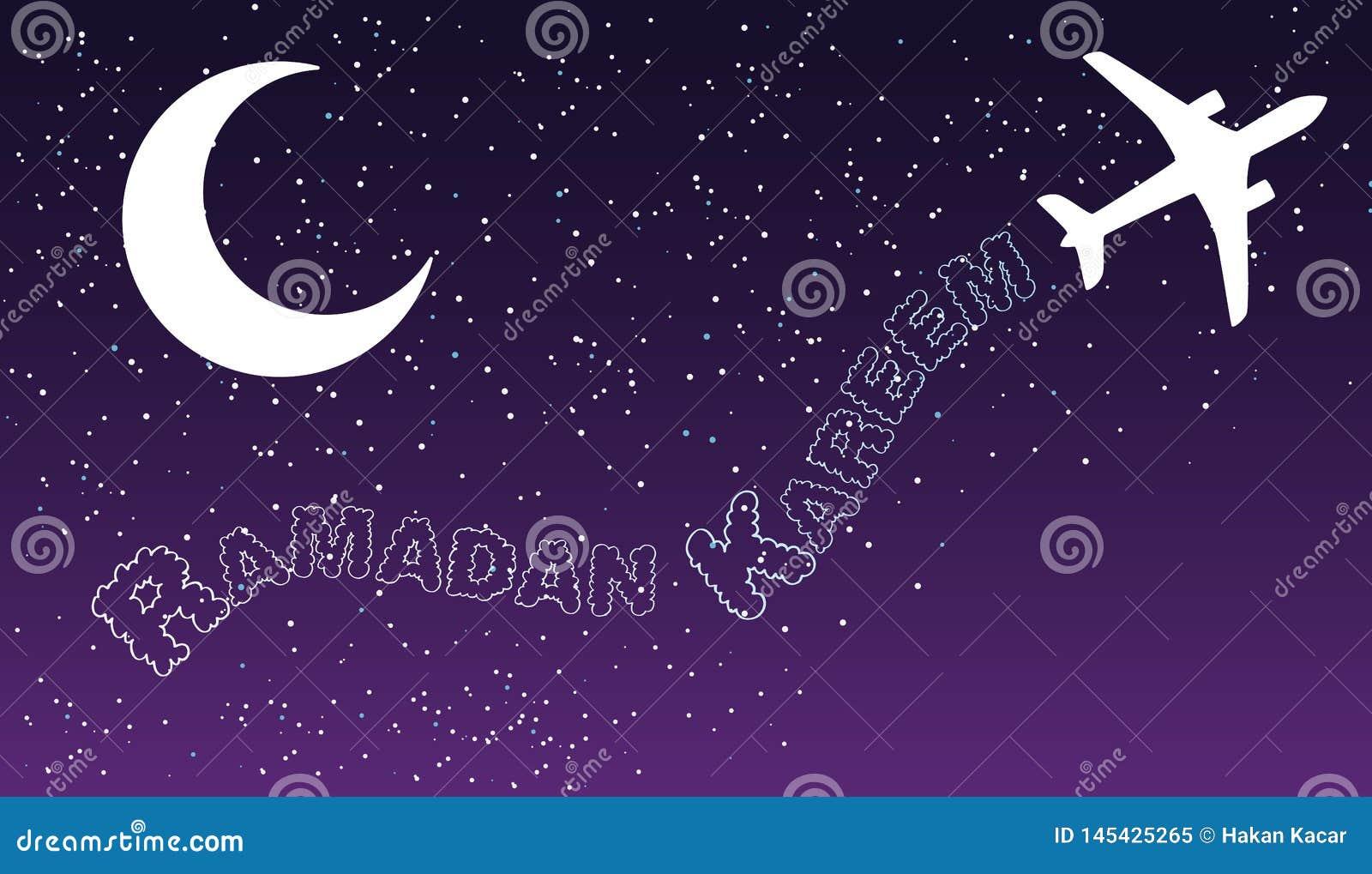 Il viaggio æreo di notte del cielo si appanna la progettazione accogliente islamica del kareem del Ramadan