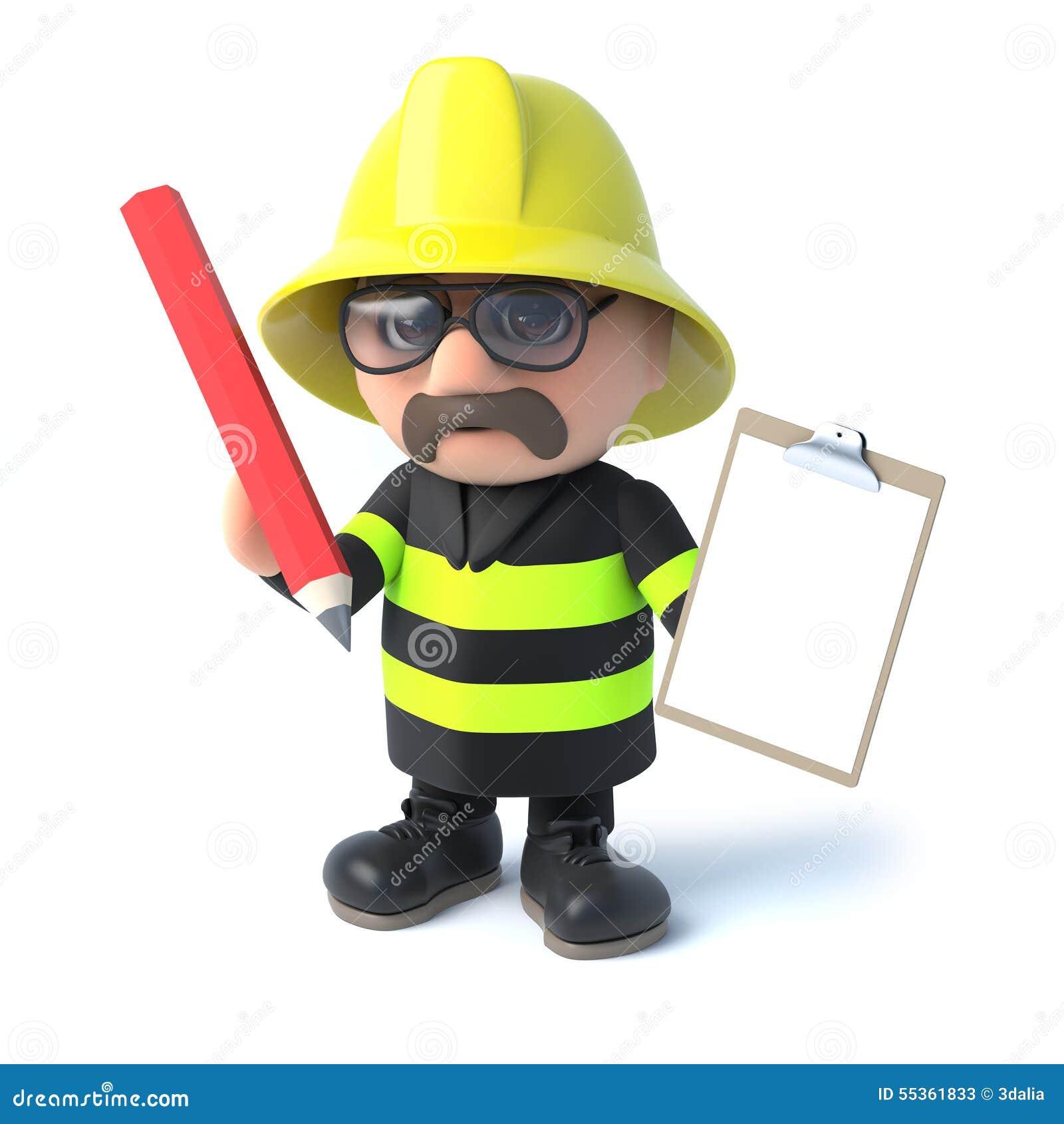 Il vigile del fuoco 3d ha una lavagna per appunti