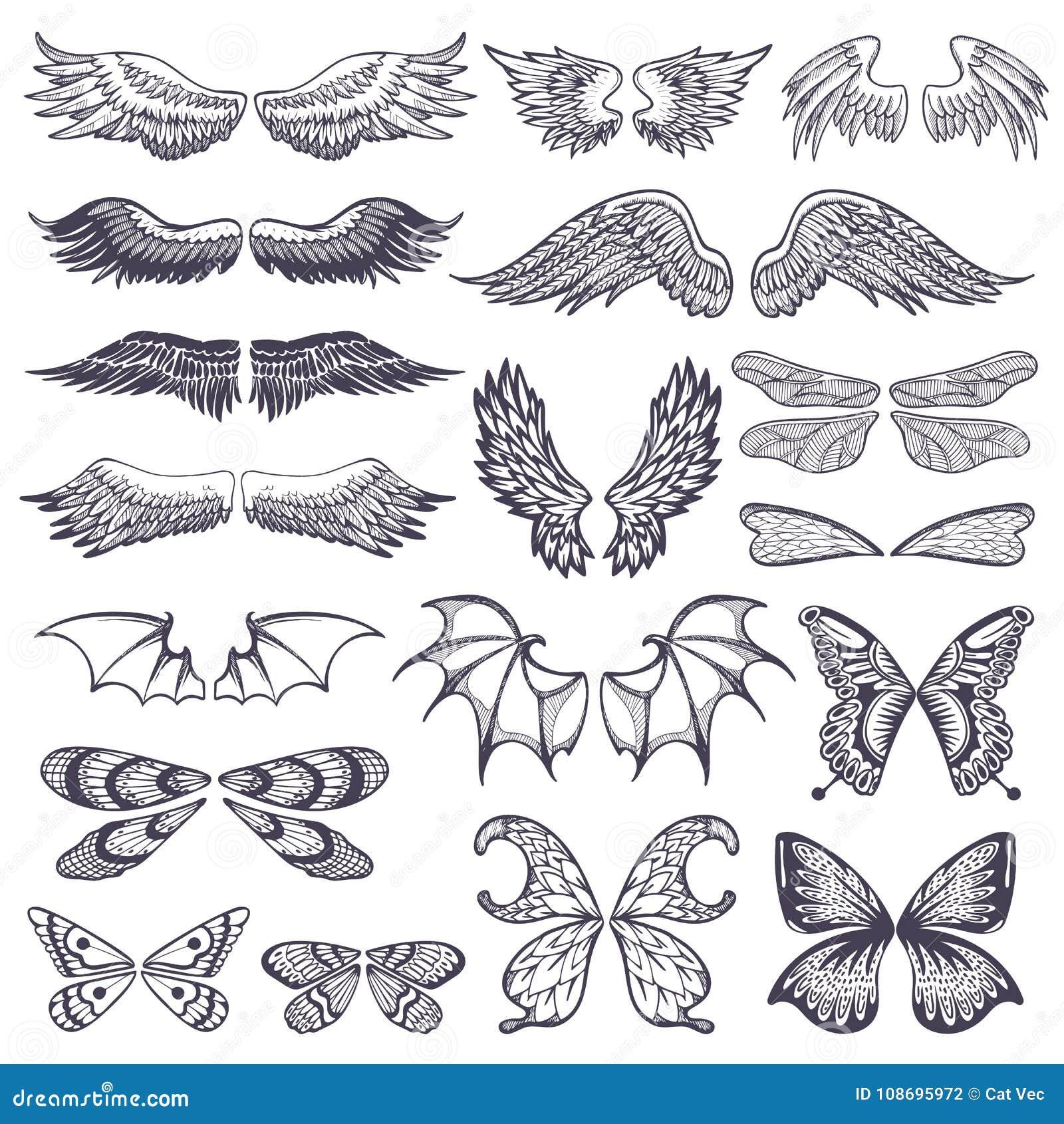 Il volo di vettore delle ali ha traversato l angelo volando con il ala-caso dell uccello e della farfalla con il tatuaggio del al
