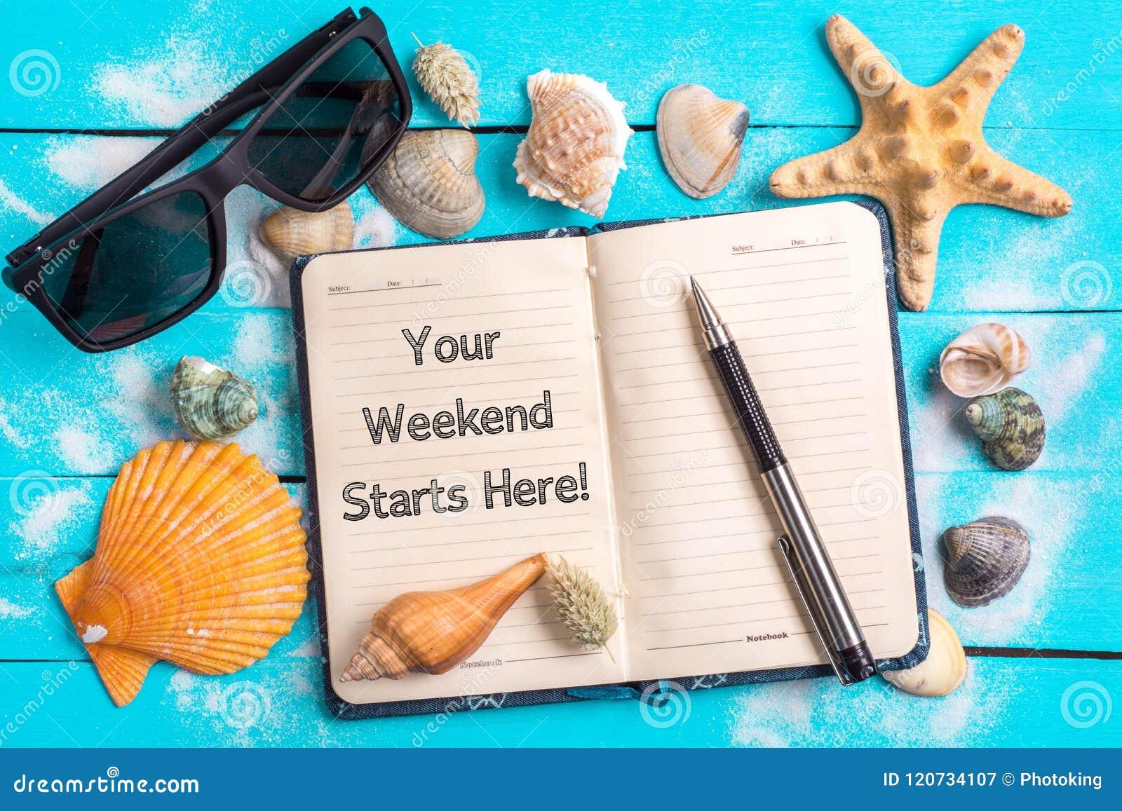 Il vostro fine settimana inizia qui il testo con il concetto delle regolazioni dell estate