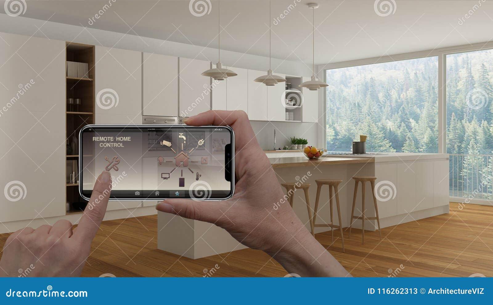 Ilar det hem- kontrollsystemet för fjärrkontrollen på ett digitalt telefonminnestavlan Apparat med app-symboler Inre av minimalis