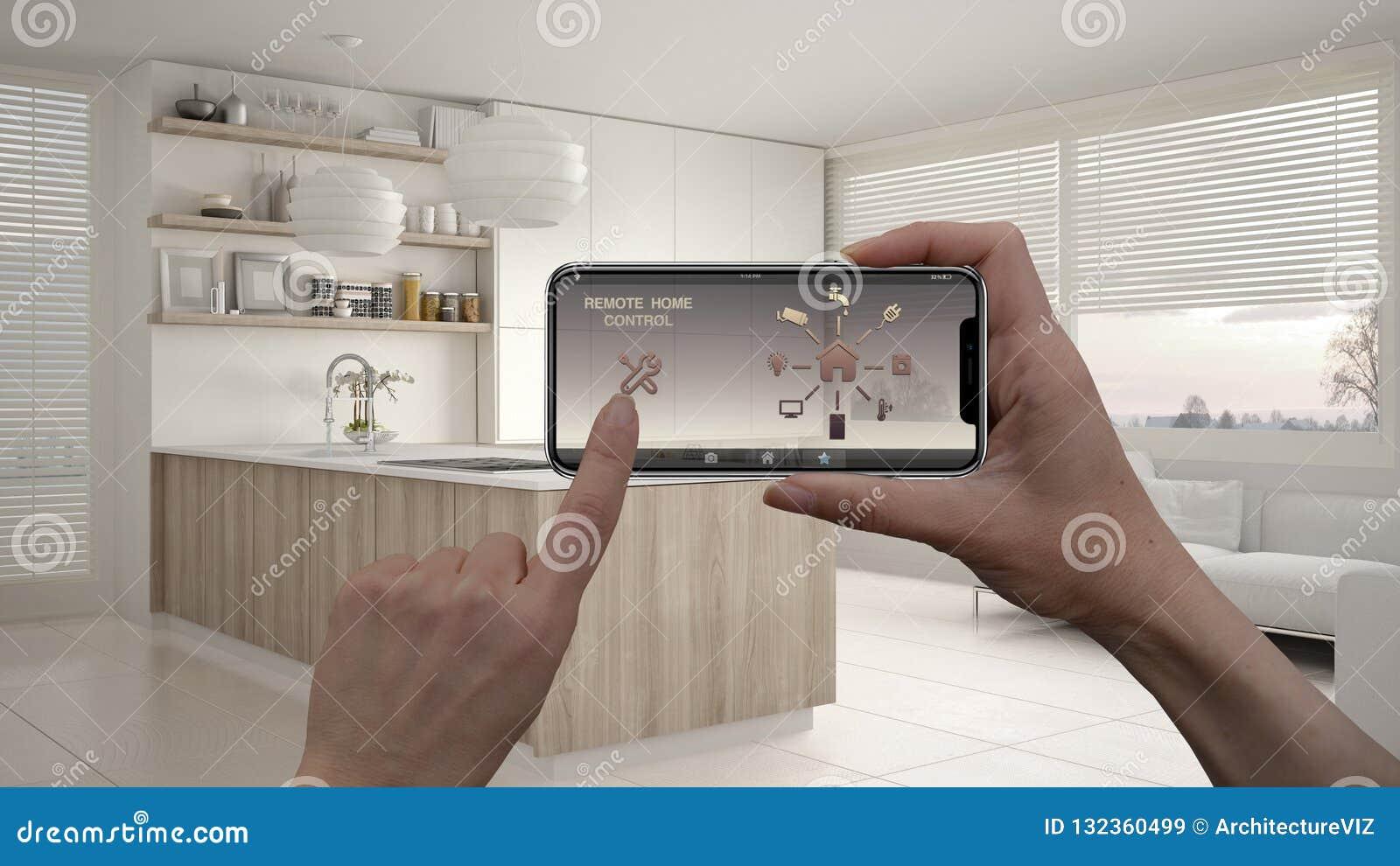 Ilar det hem- kontrollsystemet för fjärrkontrollen på ett digitalt telefonminnestavlan Apparat med app-symboler Inre av modernt k