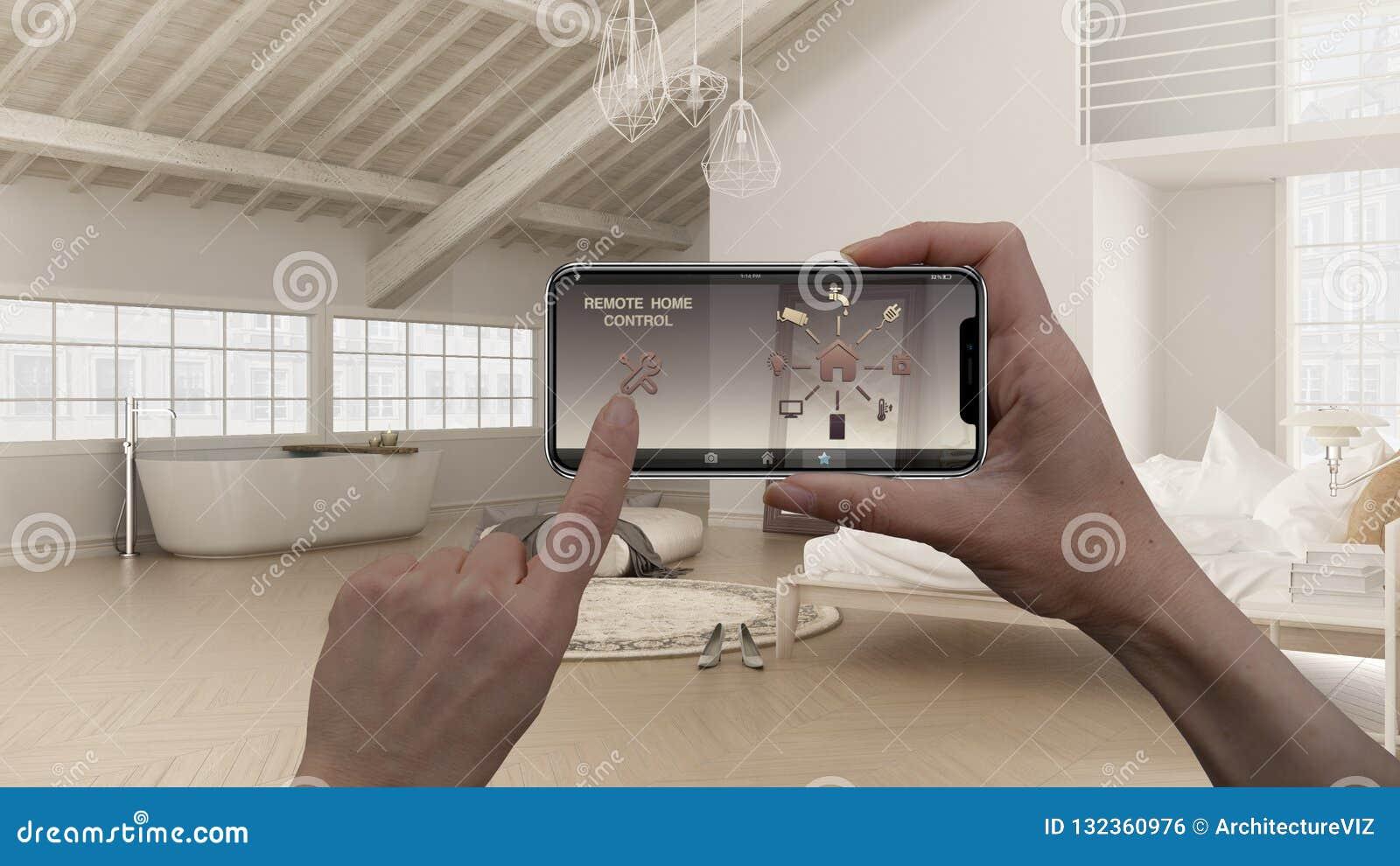 Ilar det hem- kontrollsystemet för fjärrkontrollen på ett digitalt telefonminnestavlan Apparat med app-symboler Inredesign av vin