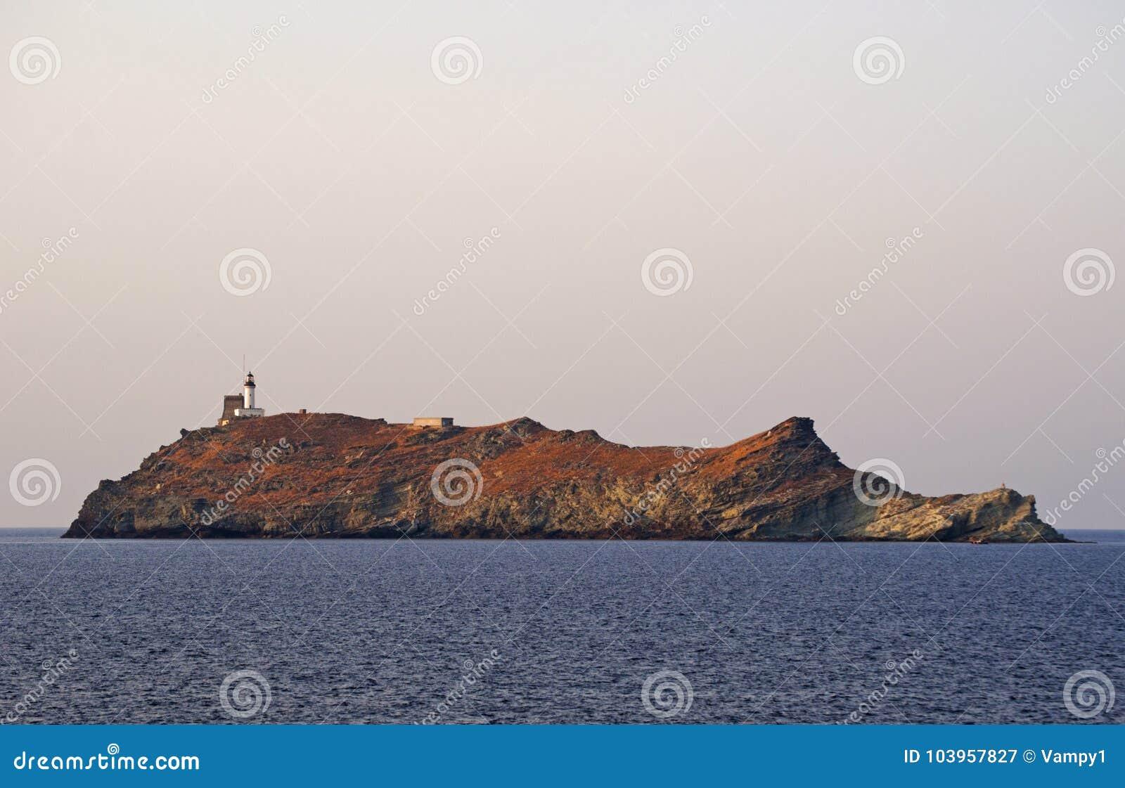 Ile de Ла Giraglia, остров Giraglia, маяк, Barcaggio, Ersa, крышка Corse, накидка Corse, haute-Corse, Корсика, Франция, Европа