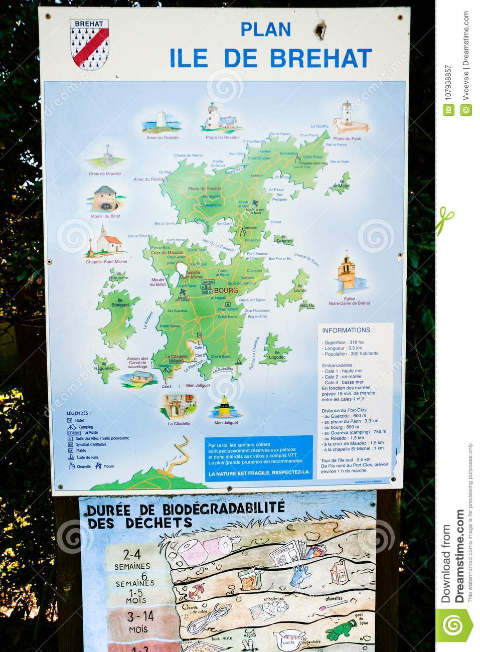 Map Of France North Coast.Outdoor Map Of Brehat Island Editorial Photography Image Of French