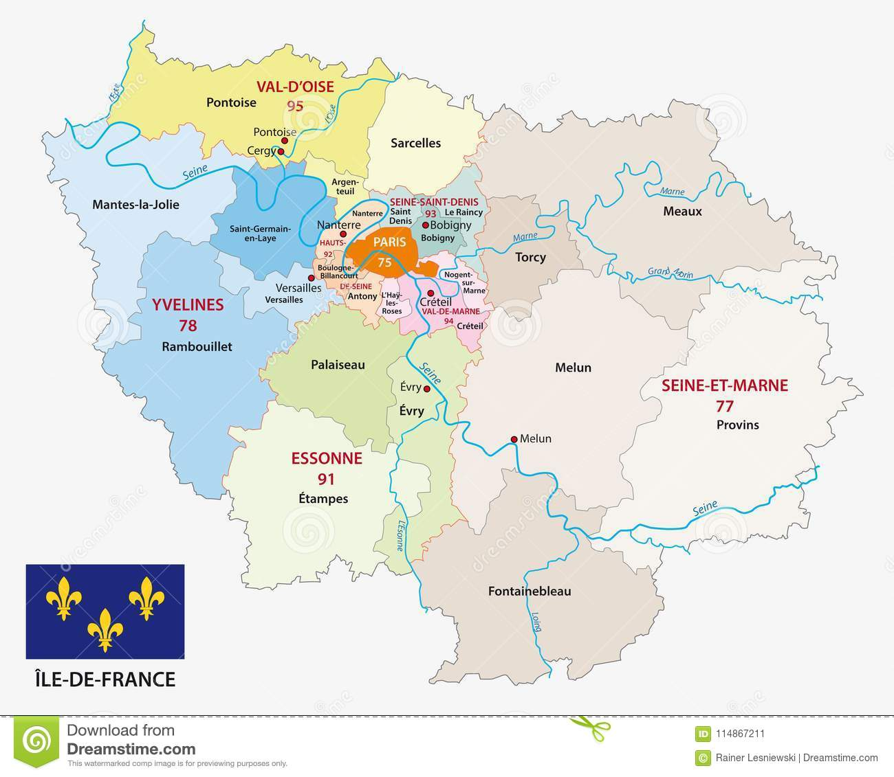 Map Of France Versailles.Ile De France Administrative And Political Vector Map With Flag