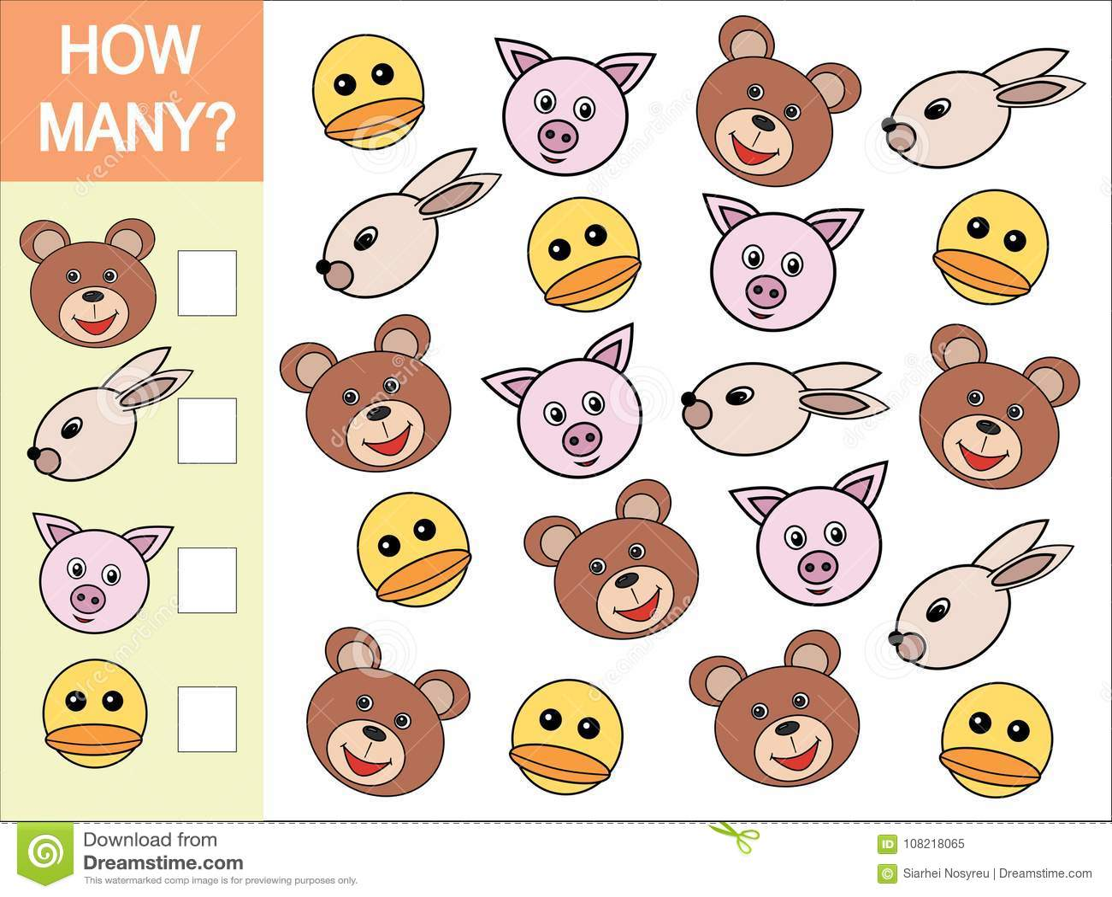 Ile głów zwierzęta Matematycznie gra dla dzieci