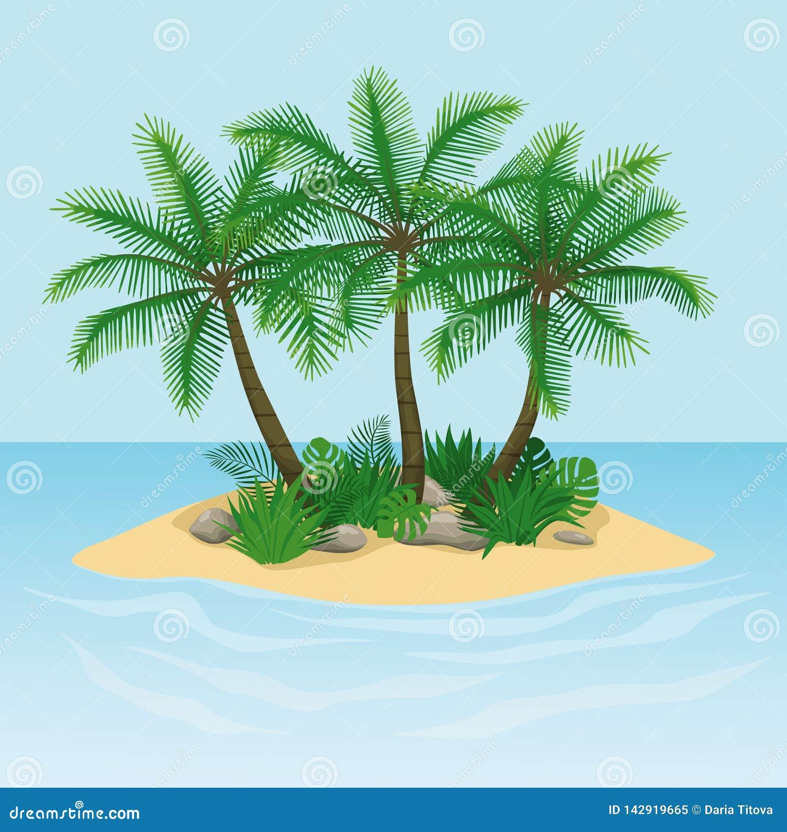 Ilha com palmeiras, rochas e pedras