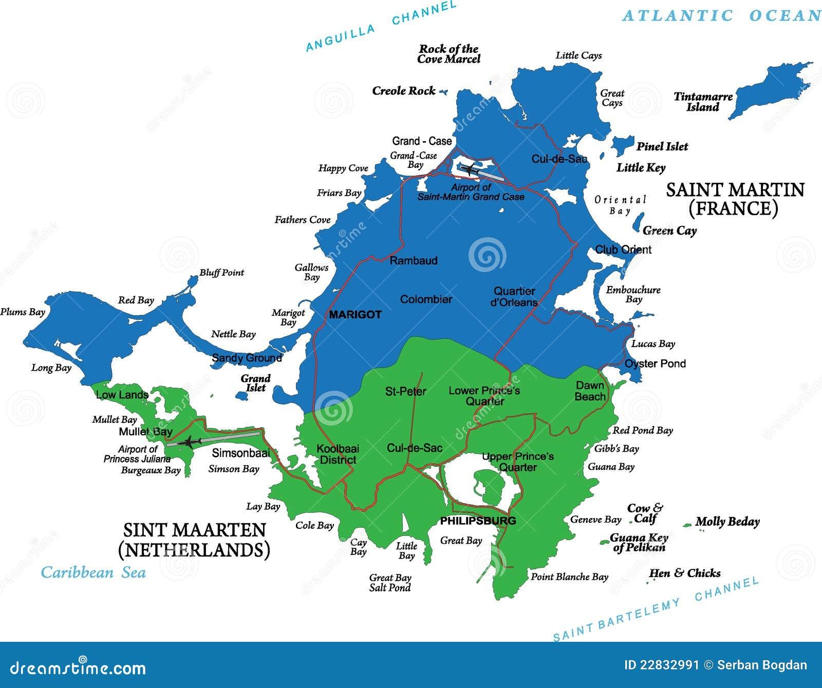 ilha das cara bas do mapa de martin de saint imagem de stock imagem 22832991. Black Bedroom Furniture Sets. Home Design Ideas