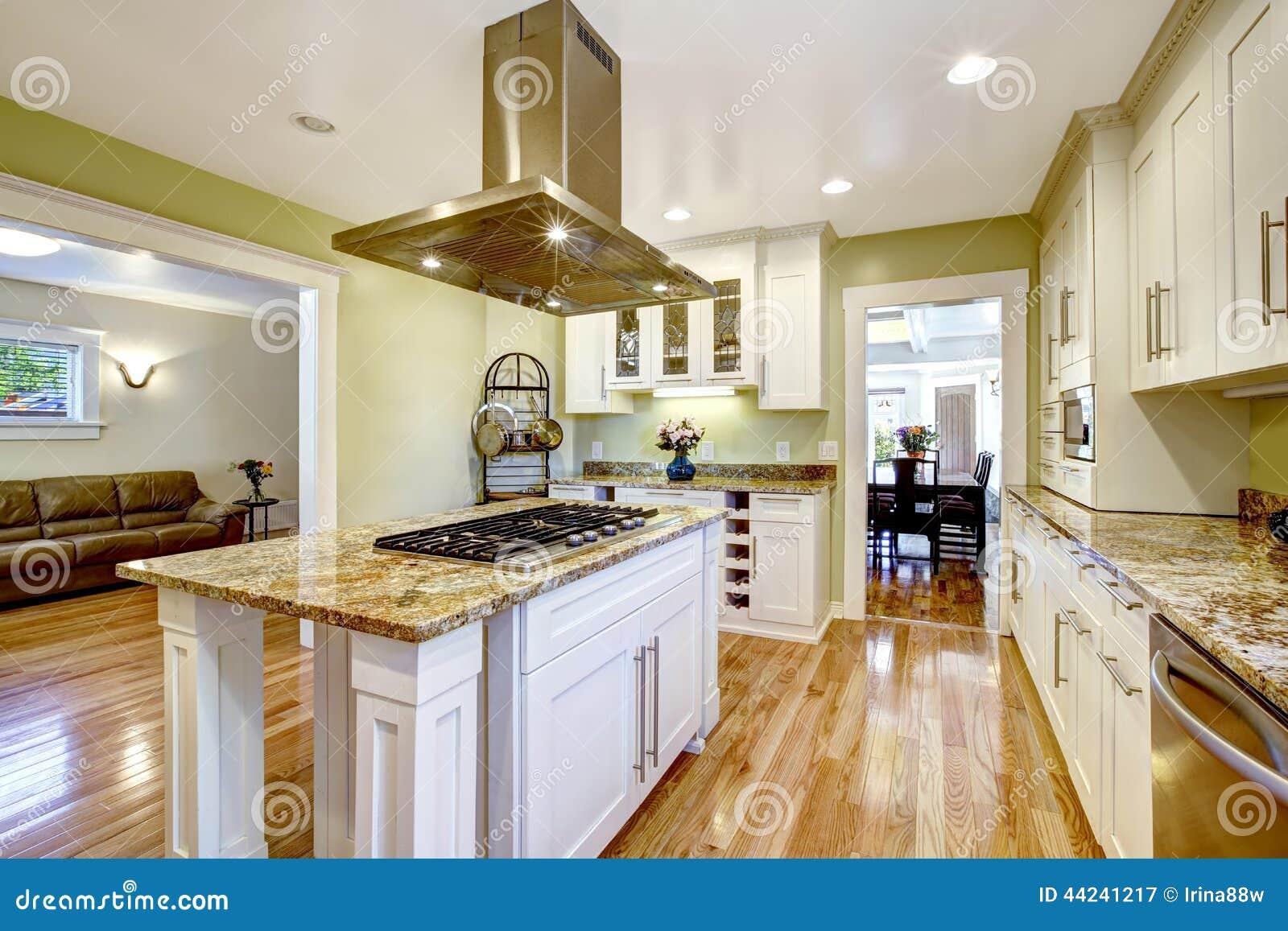 Ilha De Cozinha Com Fog O Incorporado Parte Superior Do Granito E