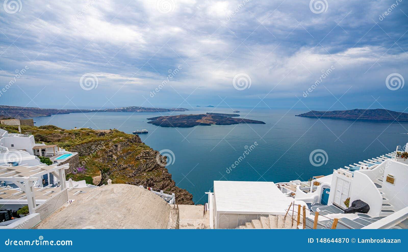 Ilha de Santorini, Gr?cia, um dos destinos os mais bonitos do curso do mundo