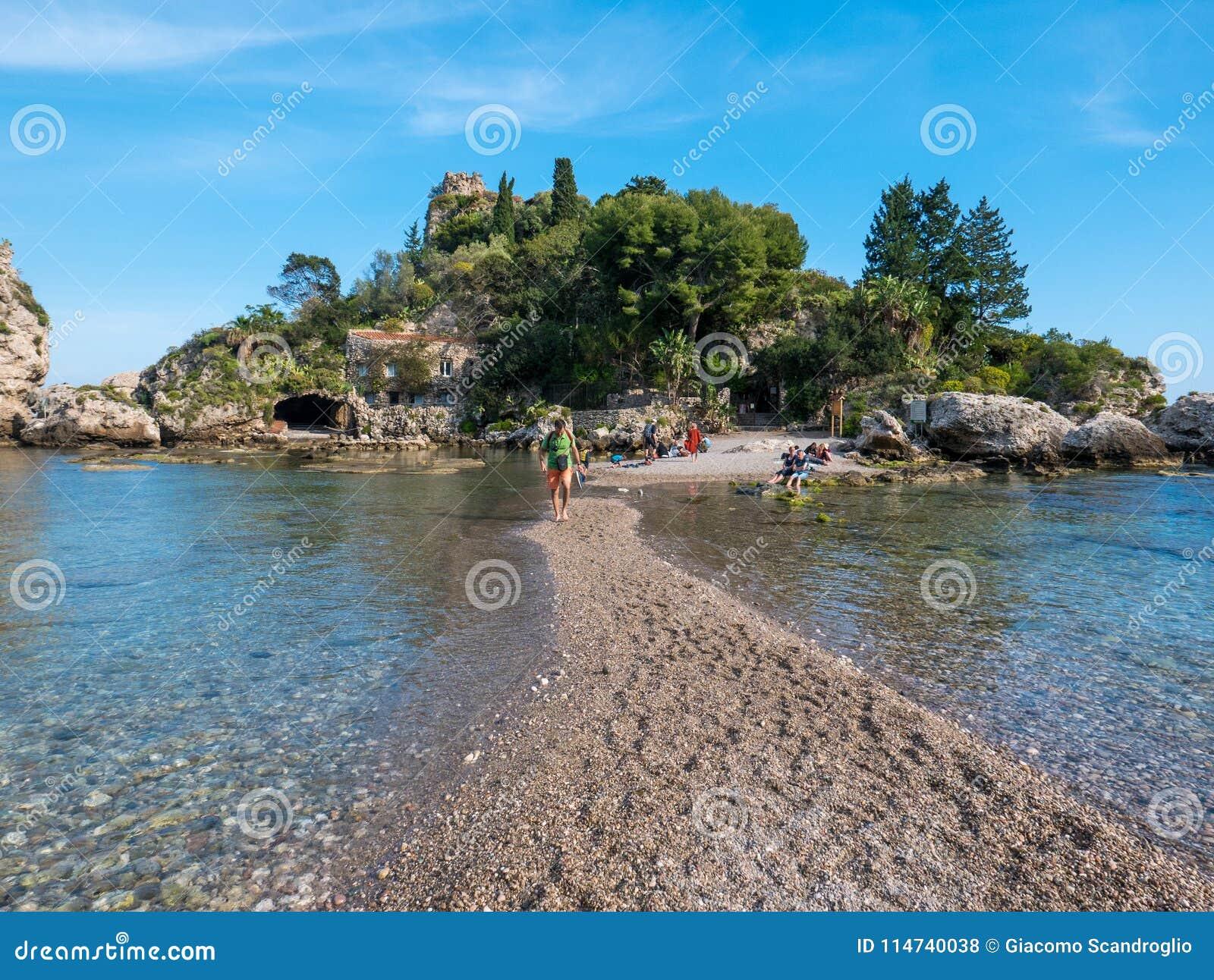 "Ilha do  de Bella†do ""Isola de Taormina, Catania, Sicília Ilha bonita do paraíso em Sicília"