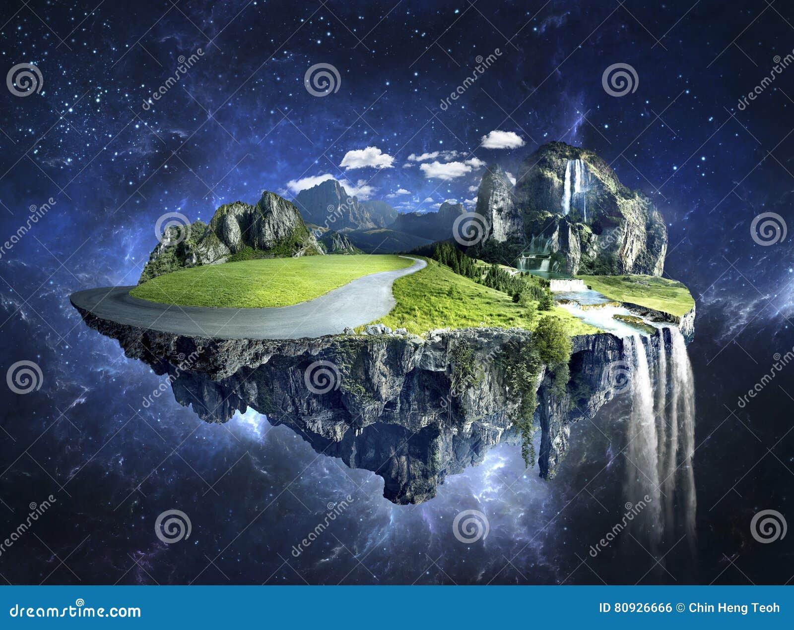 Ilha surpreendente com o bosque que flutua no ar