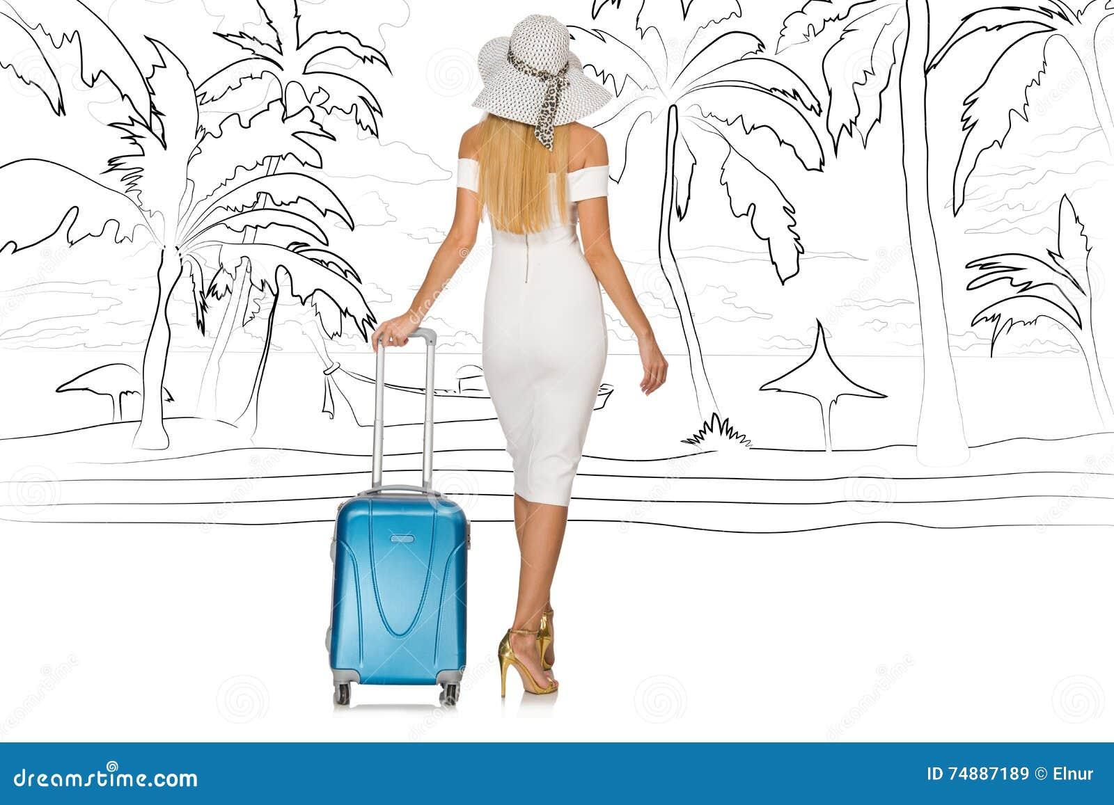 A ilha tropical de viagem da jovem mulher no conceito do curso