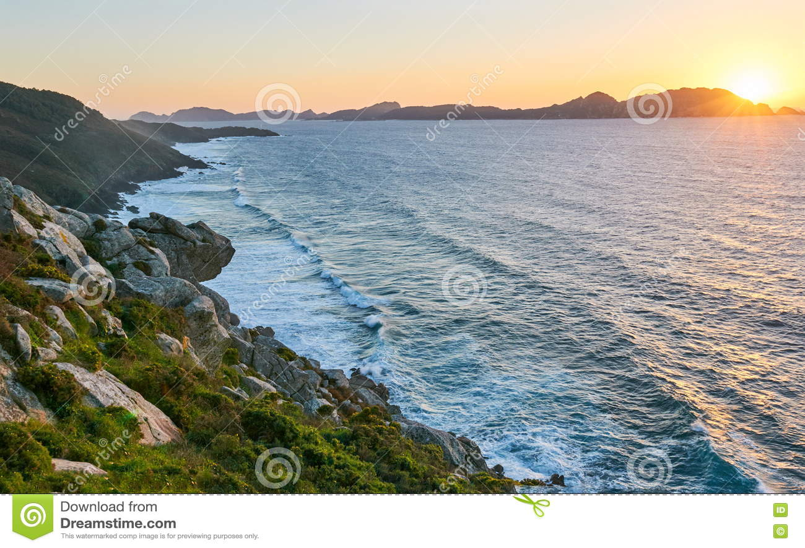 Ilhas de Cies no por do sol