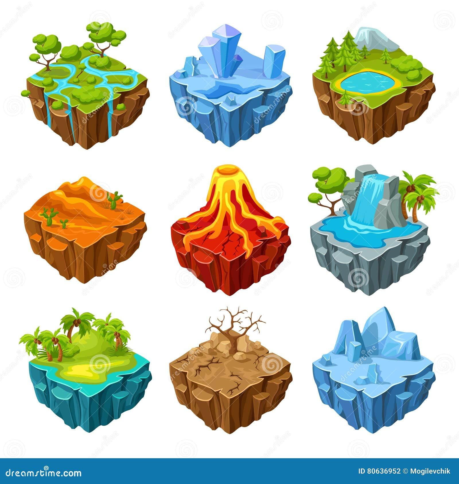 Ilhas do grupo isométrico do jogo de computador