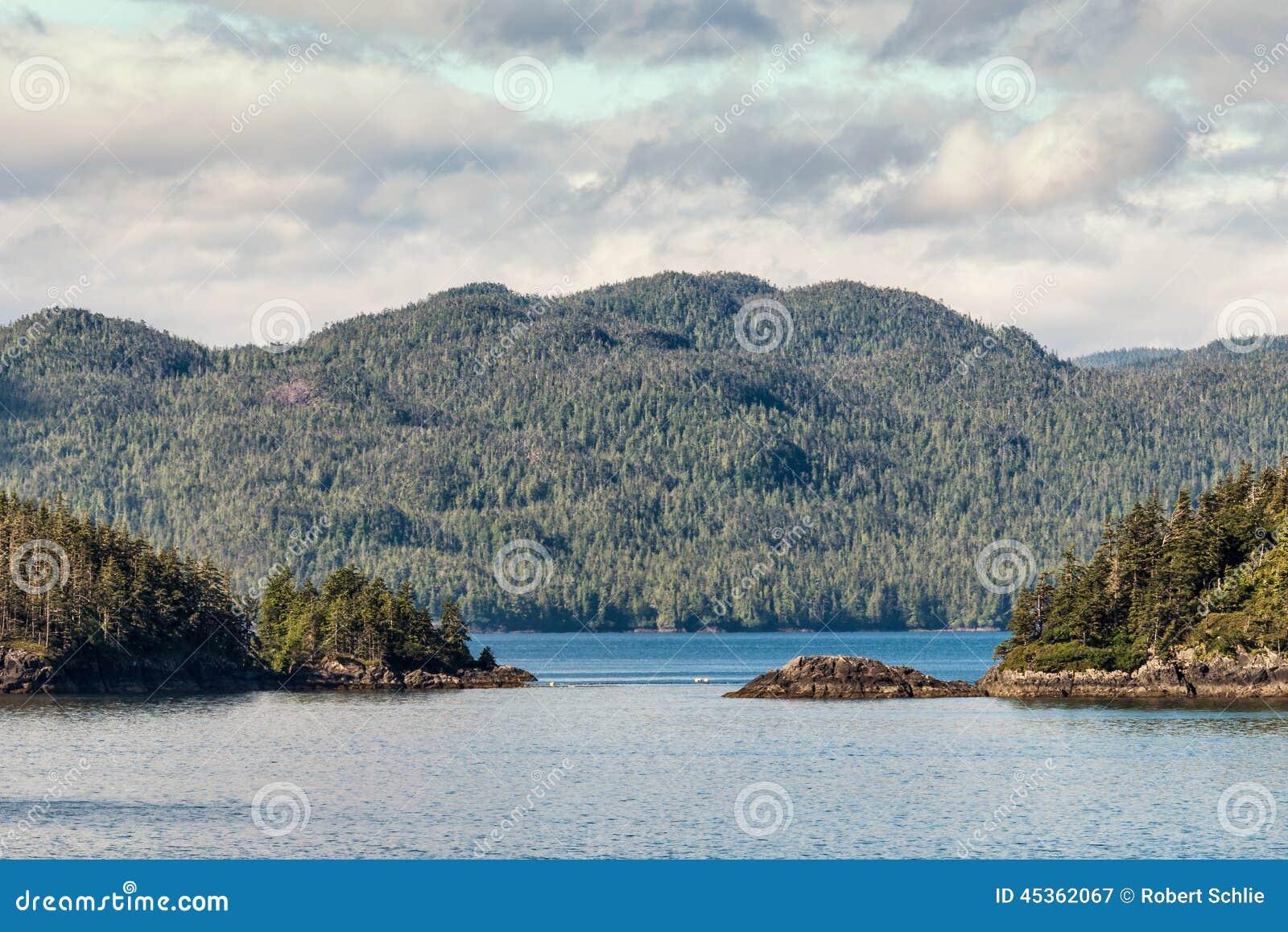 Ilhas internas da passagem do Alaskan