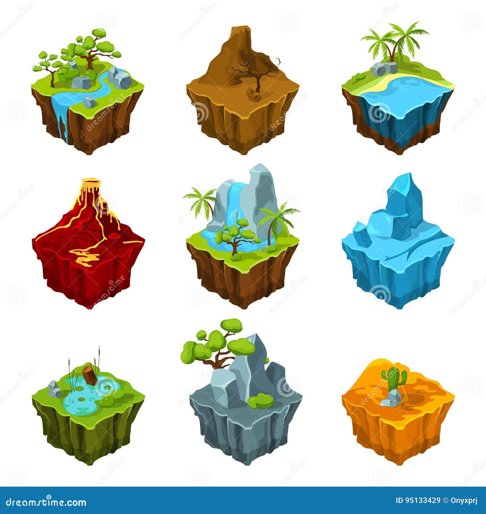 Ilhas isométricas da fantasia com vulcans, as plantas diferentes e os rios Elementos da relação no estilo dos desenhos animados V