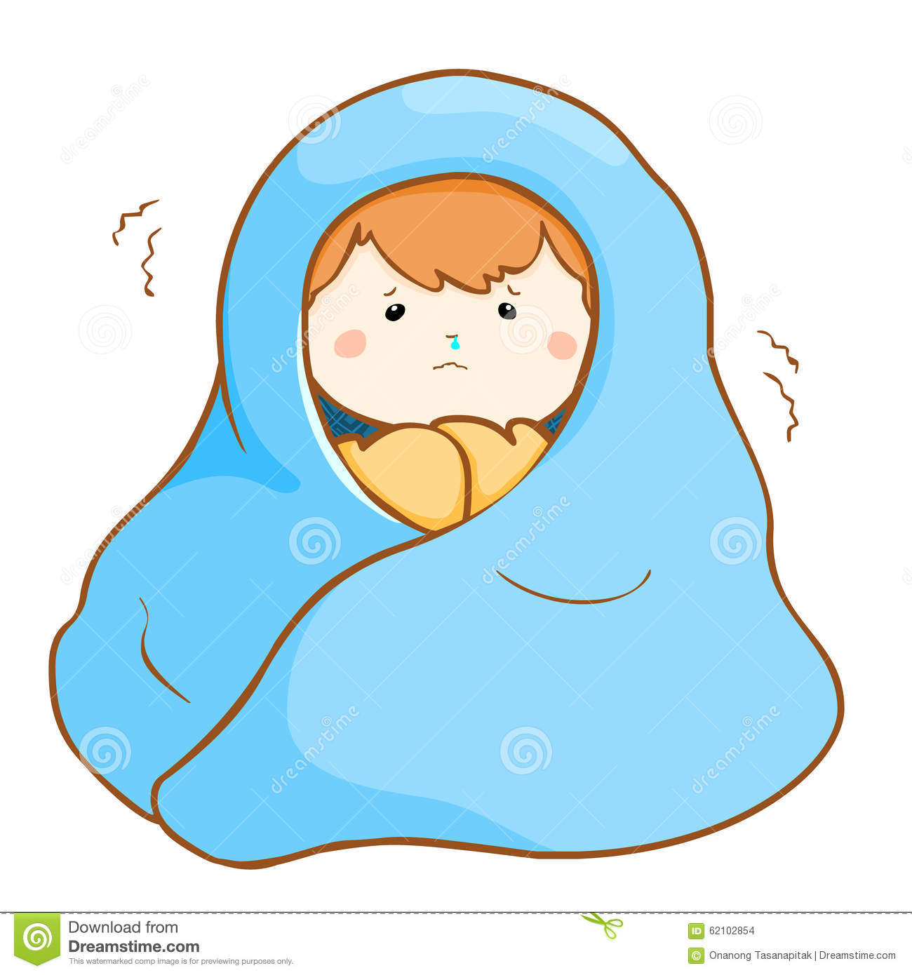 ill boy shivering hard under blanket stock vector image snow vector png snow vector top layer