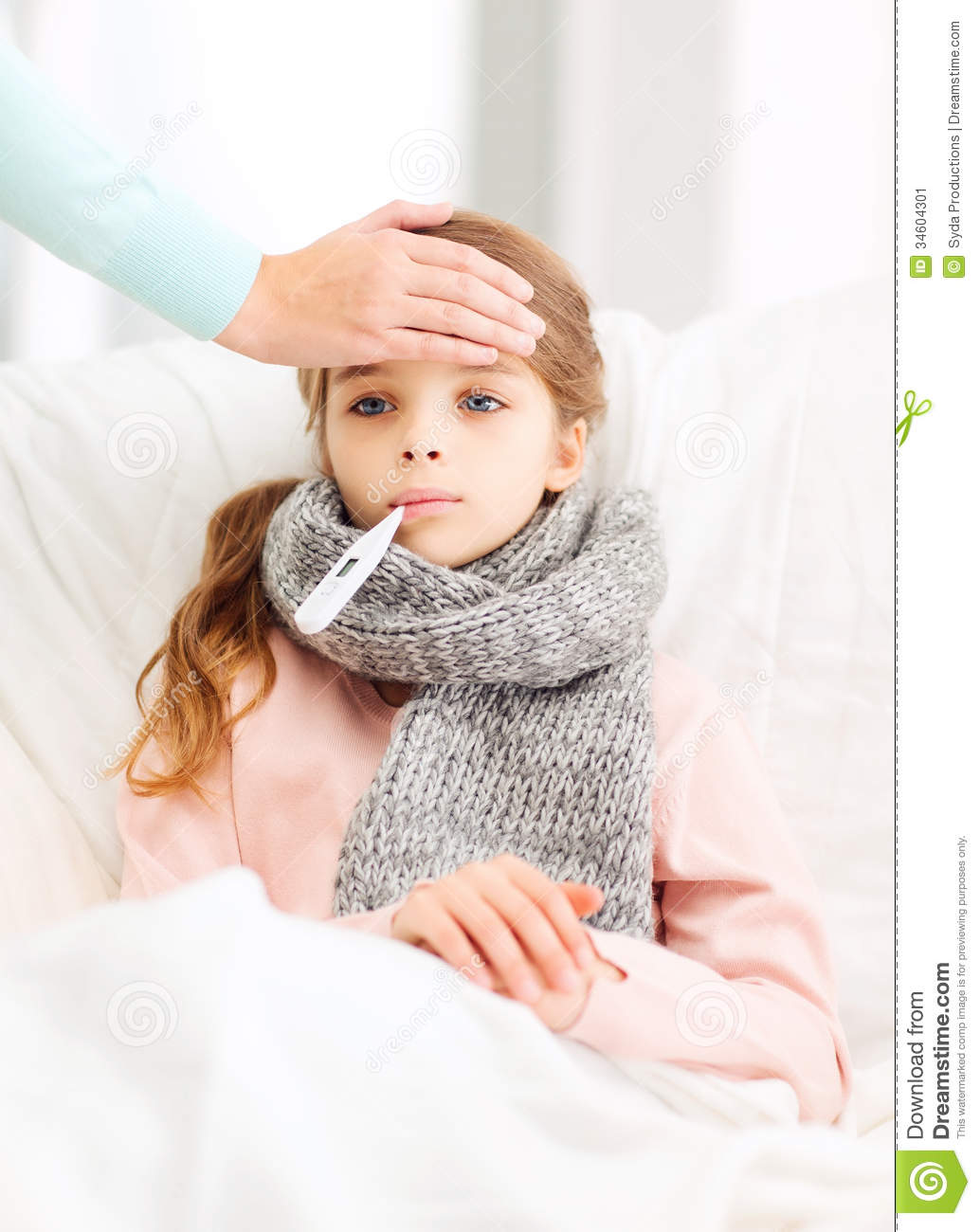 Ill Girl Child With Thermometer And Caring Mother Stock