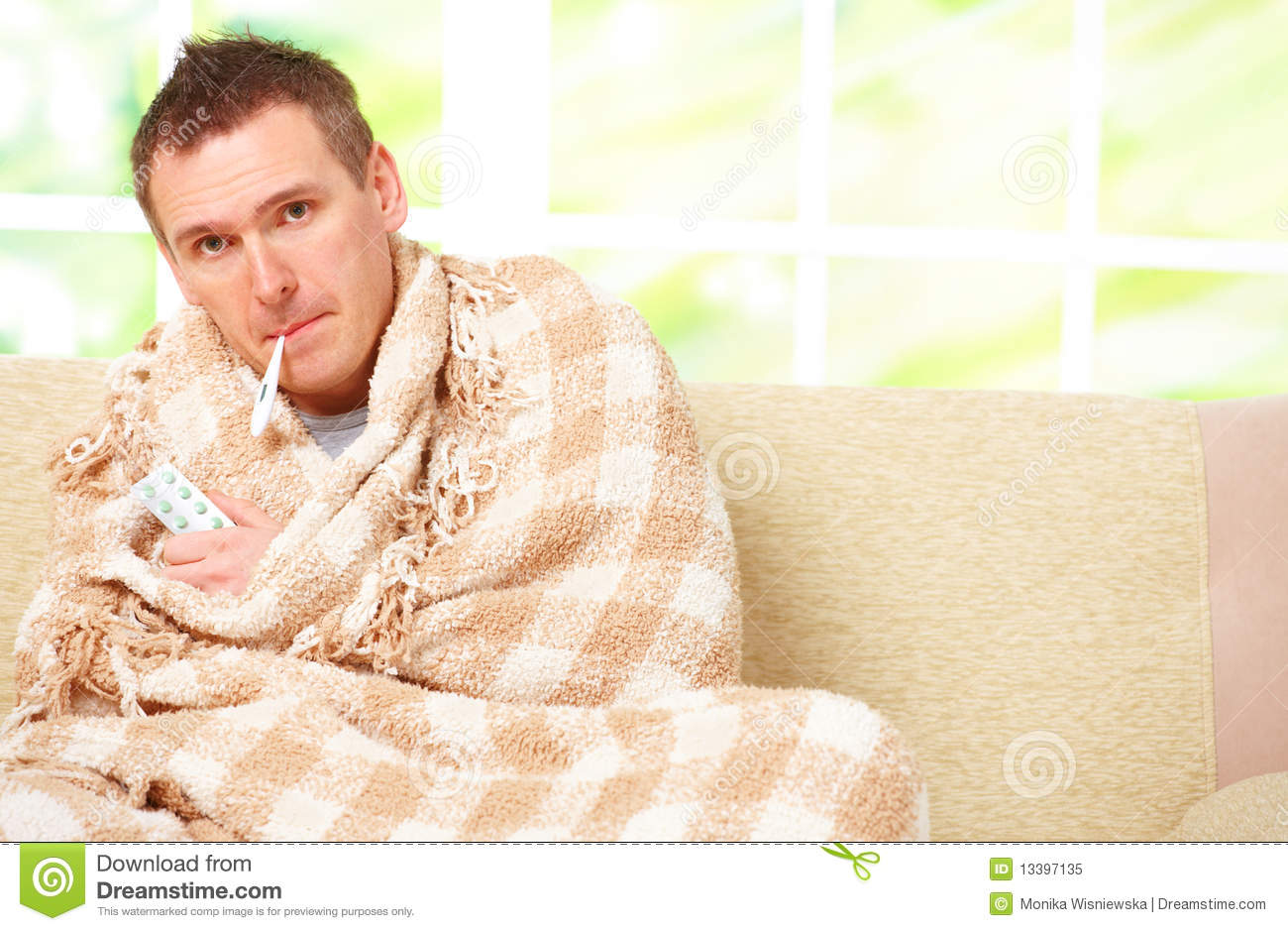 Ill Man With A Fever Royalty Free Stock Photo Image