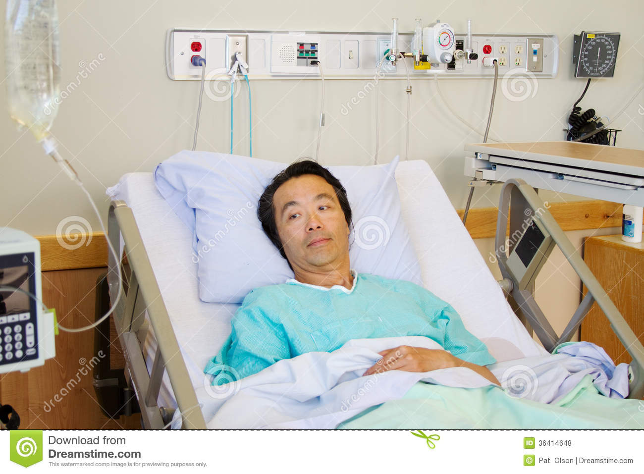 Ill Patient in hospital bed