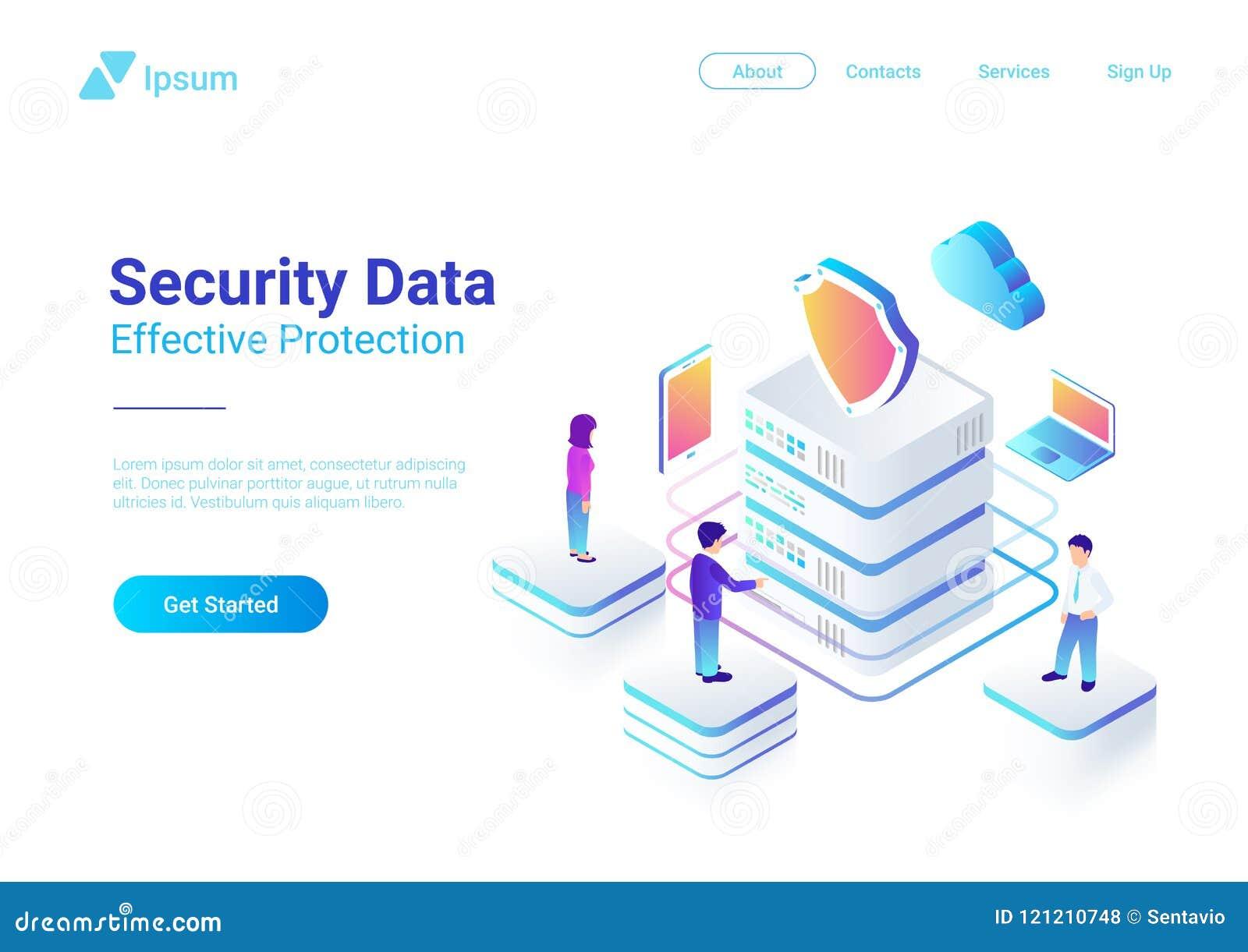 Ill piano isometrico di vettore di protezione dei dati di sicurezza