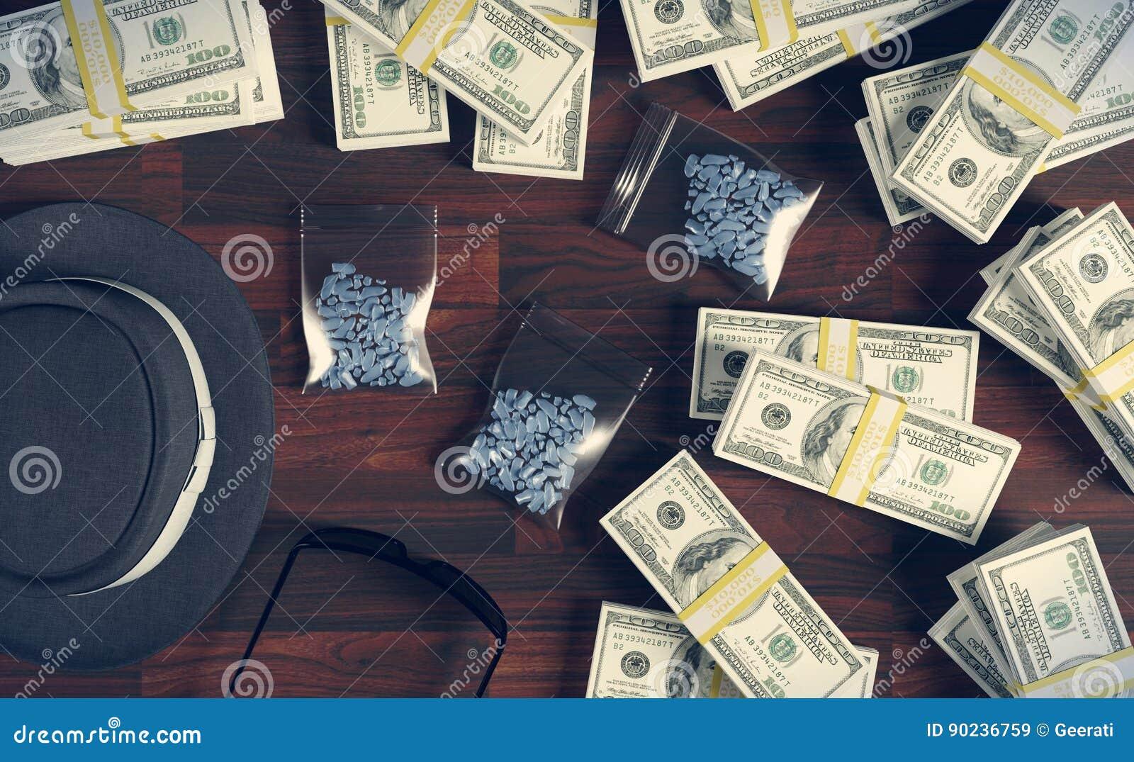Illegal Business Drugs And Dollars, Mafia Drug Dealer Stock