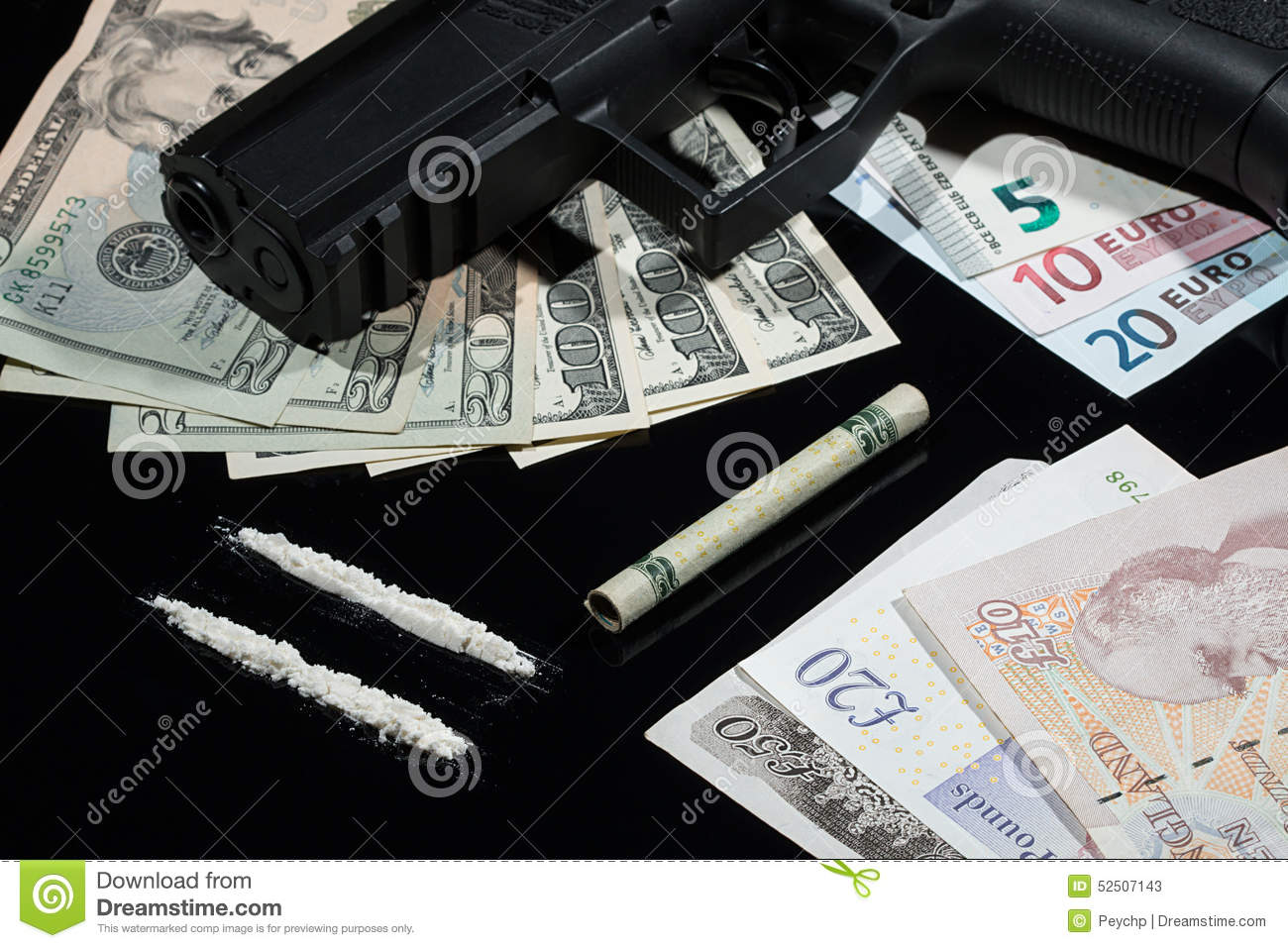 Illegal Drugs , Money And Guns Stock Image - Image: 52507143