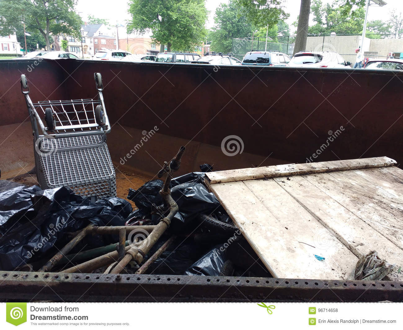 Illegal Dumping, Trash In A Dumpster Collected During A River