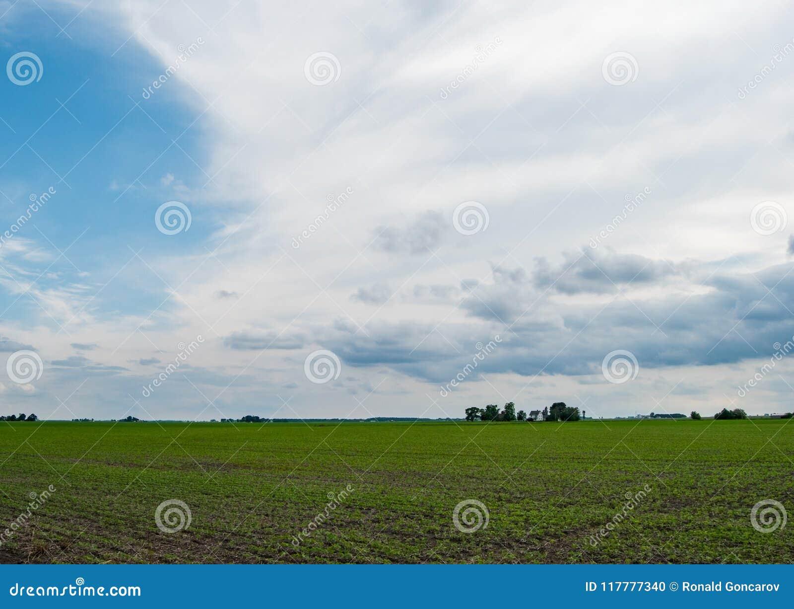 Illinois-Landschaft im wolkigen Wetter