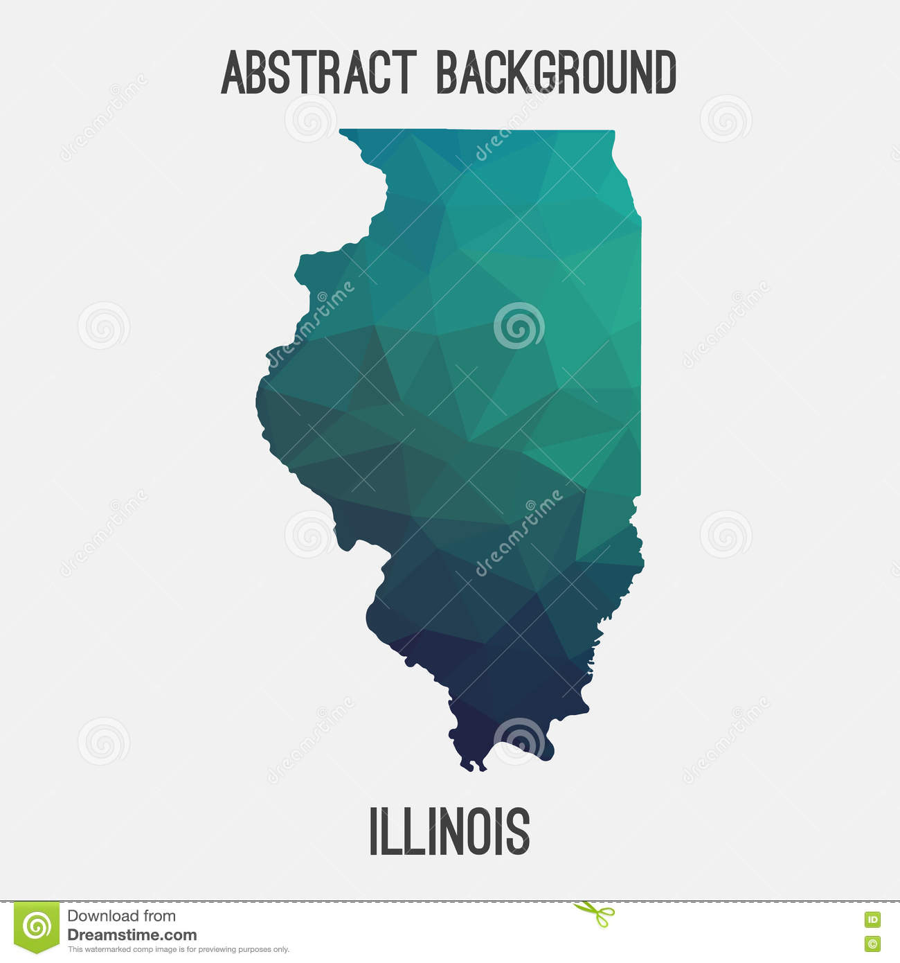 Illinois Map In Geometric Polygonal Mosaic Style Stock Vector