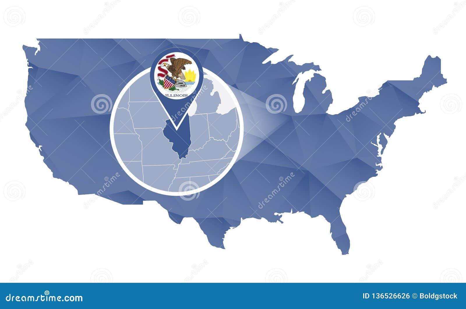 Illinois State Magnified On United States Map Stock Vector ... on illinois pennsylvania map, illinois map springfield il, illinois state parks map, illinois state map with cities and towns, illinois high speed rail map, illinois oregon map, illinois us map, illinois food map, illinois turkey map, illinois map and surrounding states, illinois street map, washington illinois map, illinois school district map, belleville illinois state map, illinois tribe map, illinois concealed carry map, illinois judiciary map, illinois state university map, illinois minnesota map, illinois zip codes by city map,