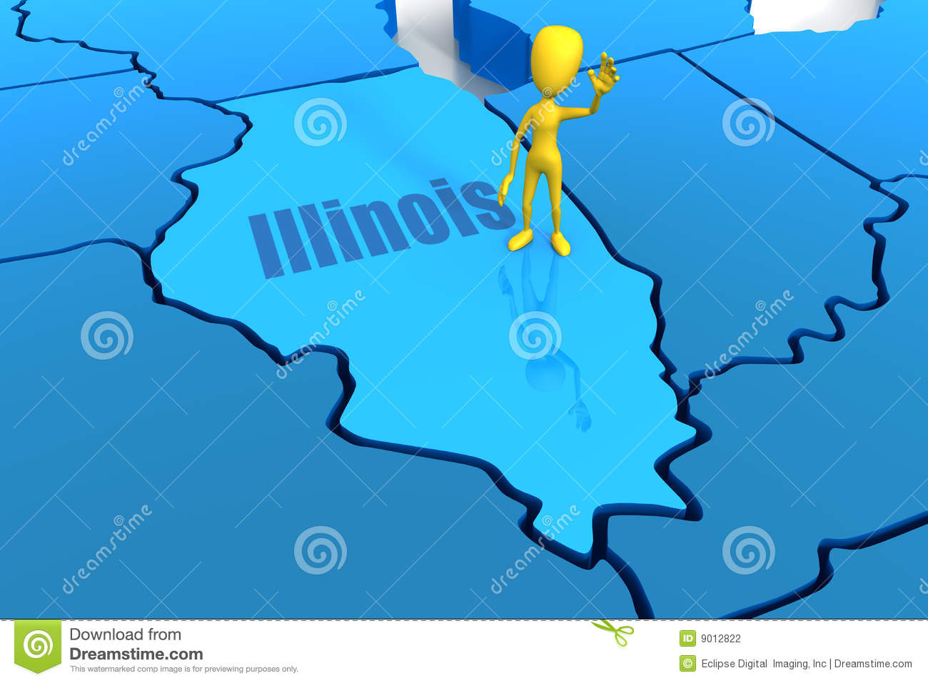 Illinois State Outline With Yellow Stick Figure Stock