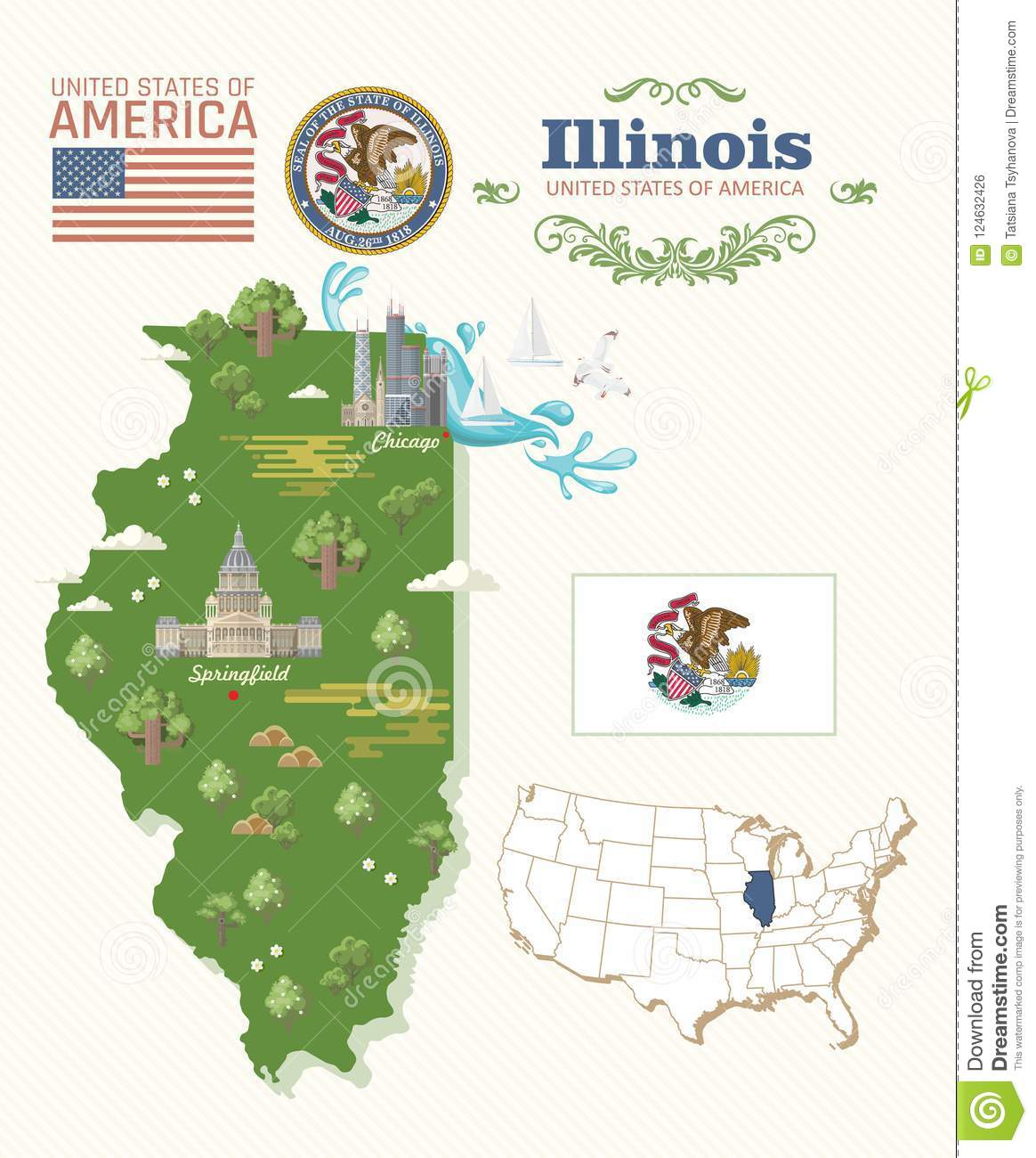 Illinois Vector Postcard. Map. US State. United States Of ...